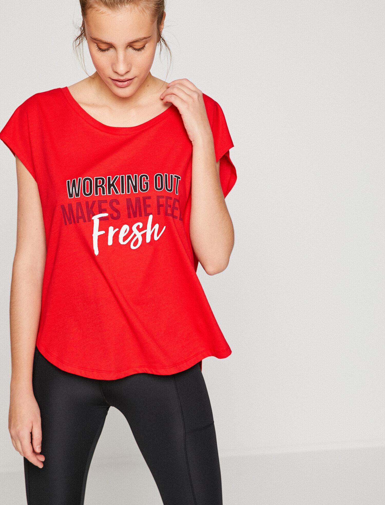 Koton Kadın Yazili Baskili T-Shirt Kırmızı Ürün Resmi
