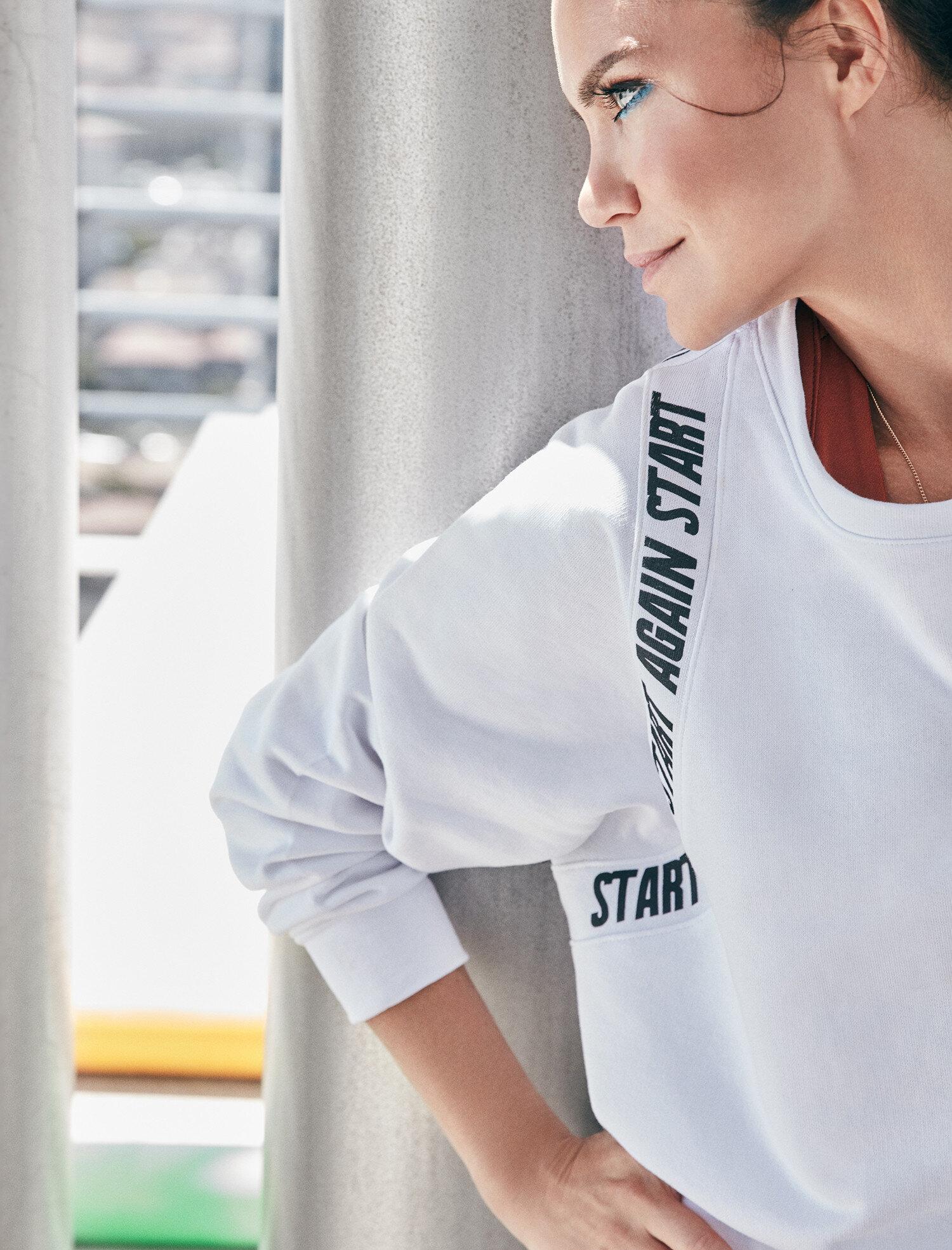 Koton Kadın Ebru Salli Loves Koton Sport Sweatshirt Beyaz Ürün Resmi