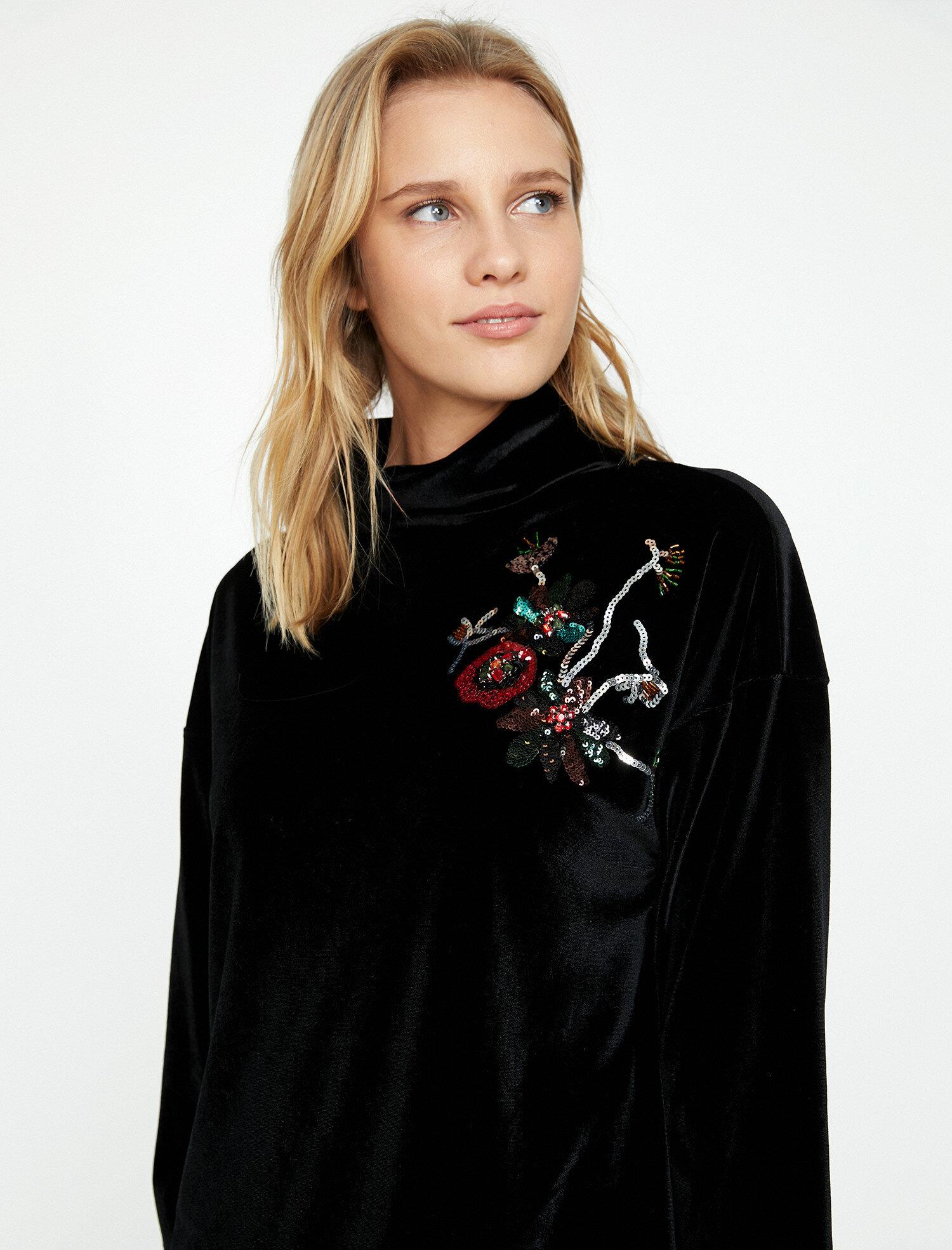 Koton Kadın El Emegi T-Shirt Siyah Ürün Resmi