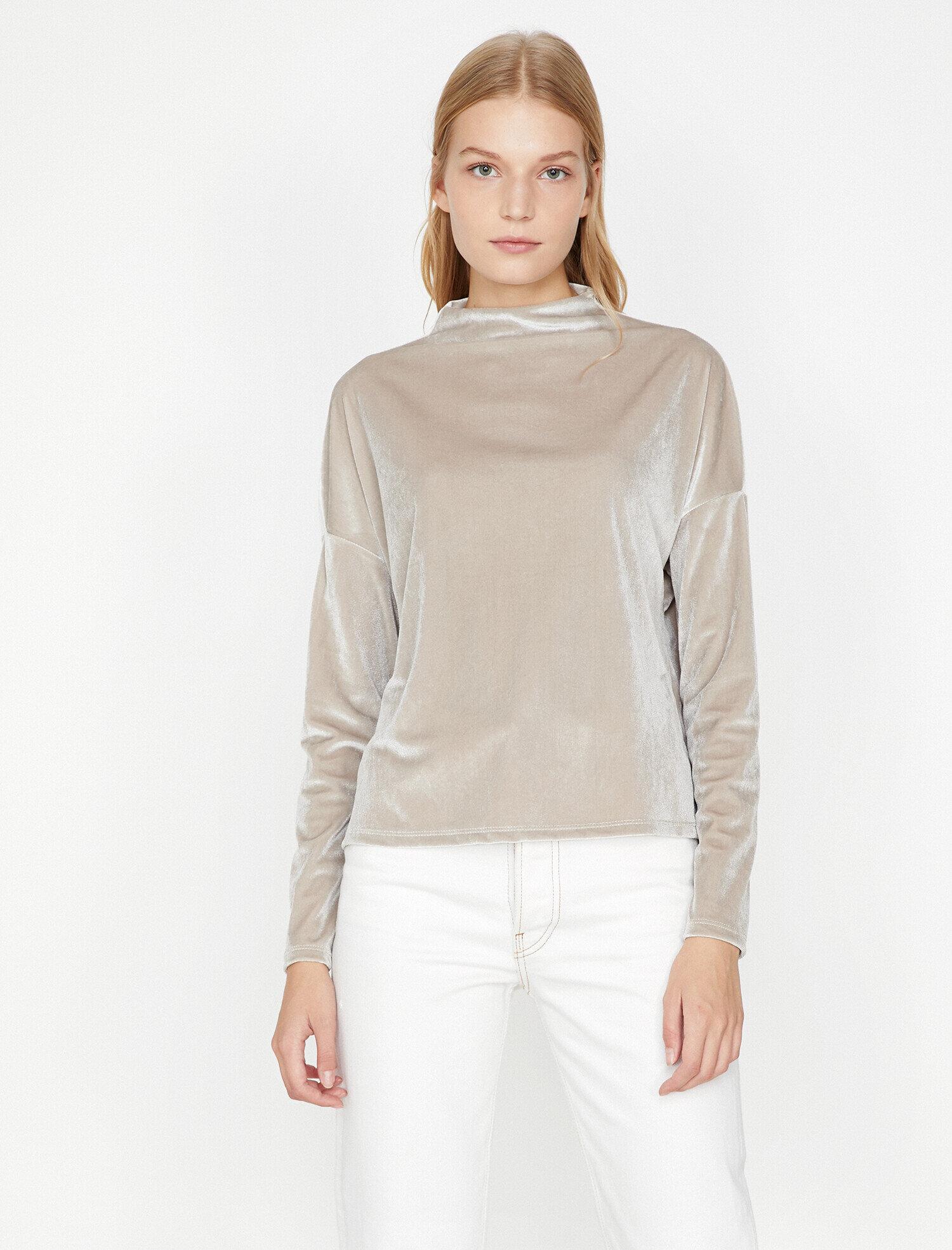 Koton Kadın Yüksek Yaka T-Shirt Gri Ürün Resmi