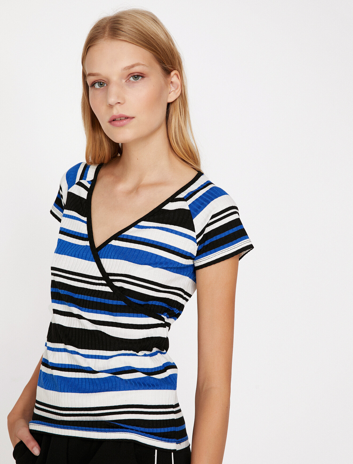Koton Kadın Çizgli T-Shirt Mavi Ürün Resmi