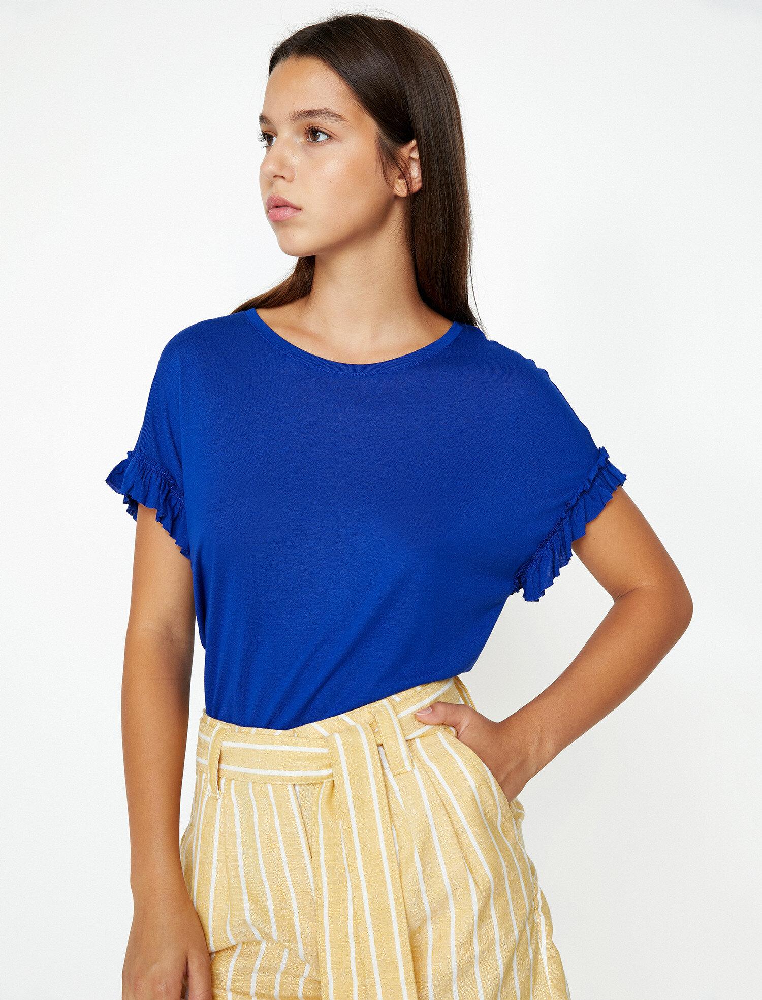 Koton Kadın Firfir Detayli T-Shirt Mavi Ürün Resmi