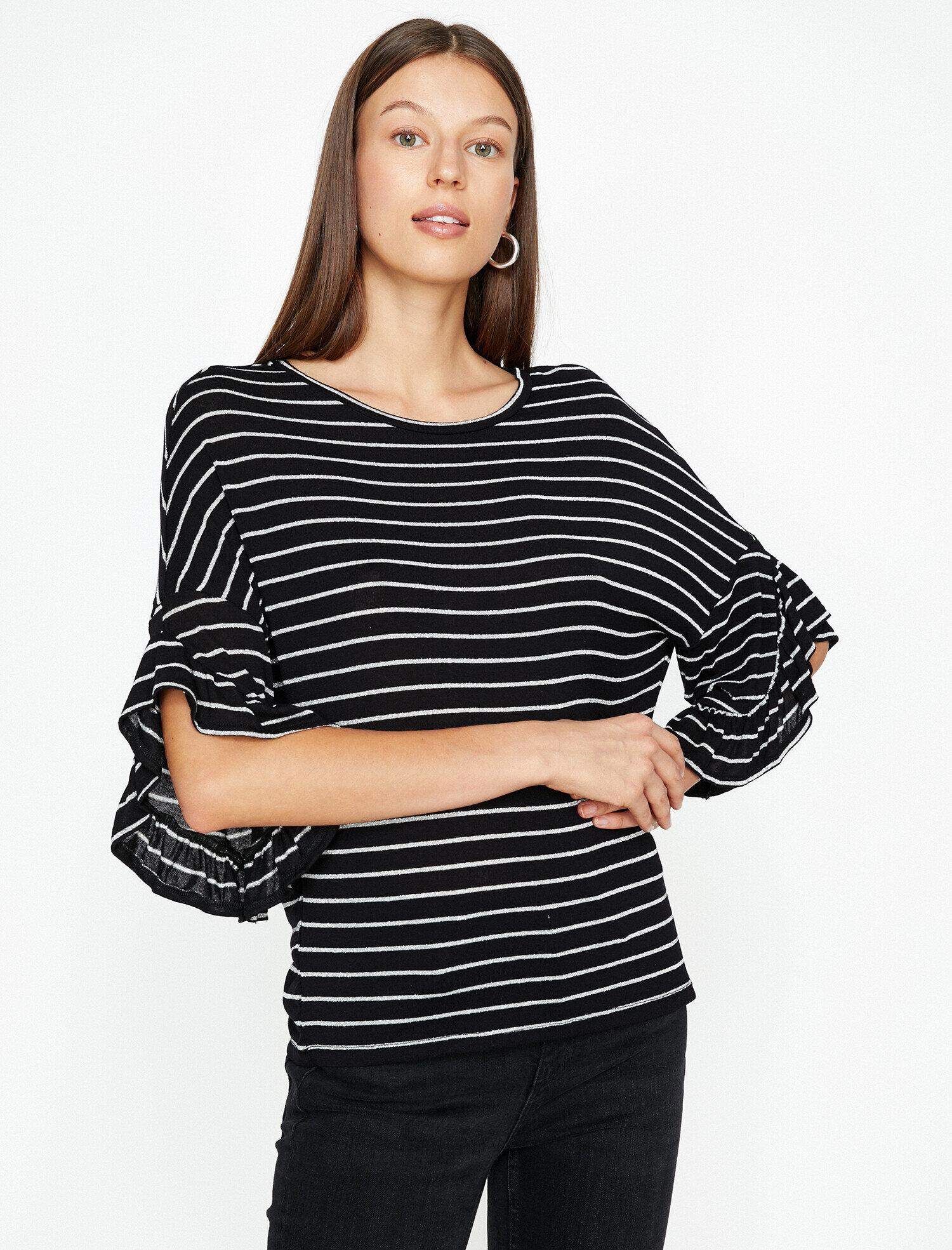 Koton Kadın Çizgili T-Shirt Gri Ürün Resmi