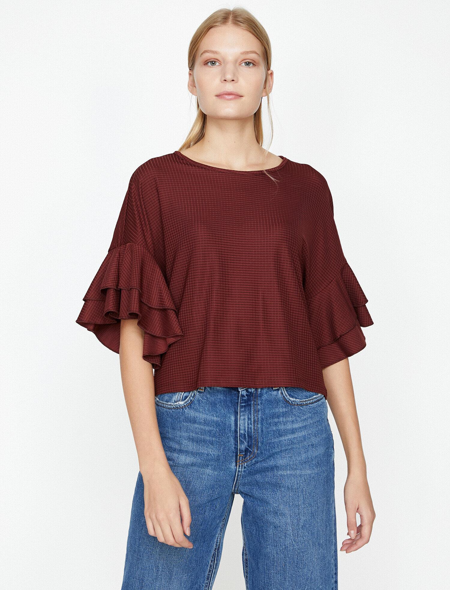Koton Kadın Volan Detayli T-Shirt Bordo Ürün Resmi