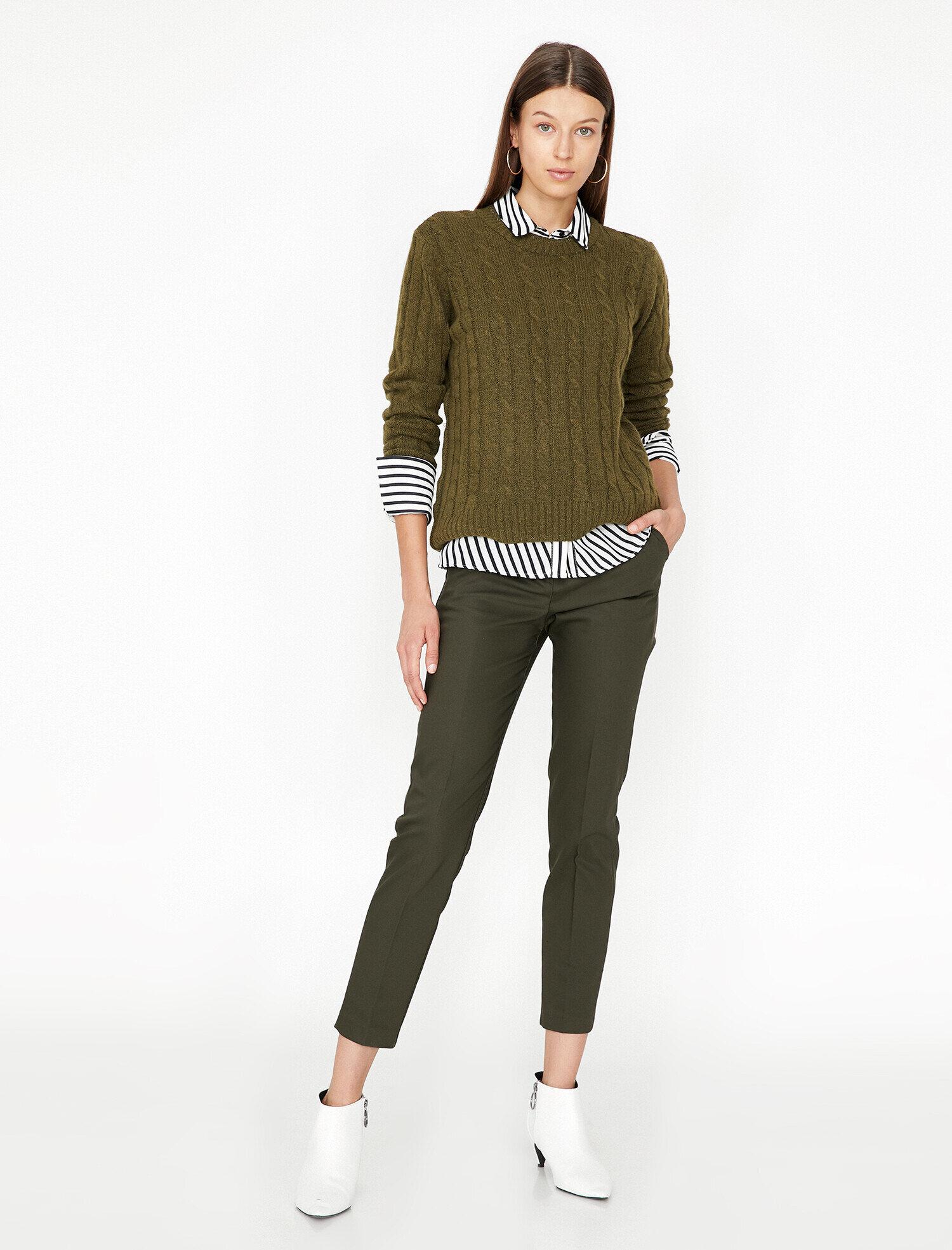 Koton Kadın Dar Kesim Pantolon Yeşil Ürün Resmi