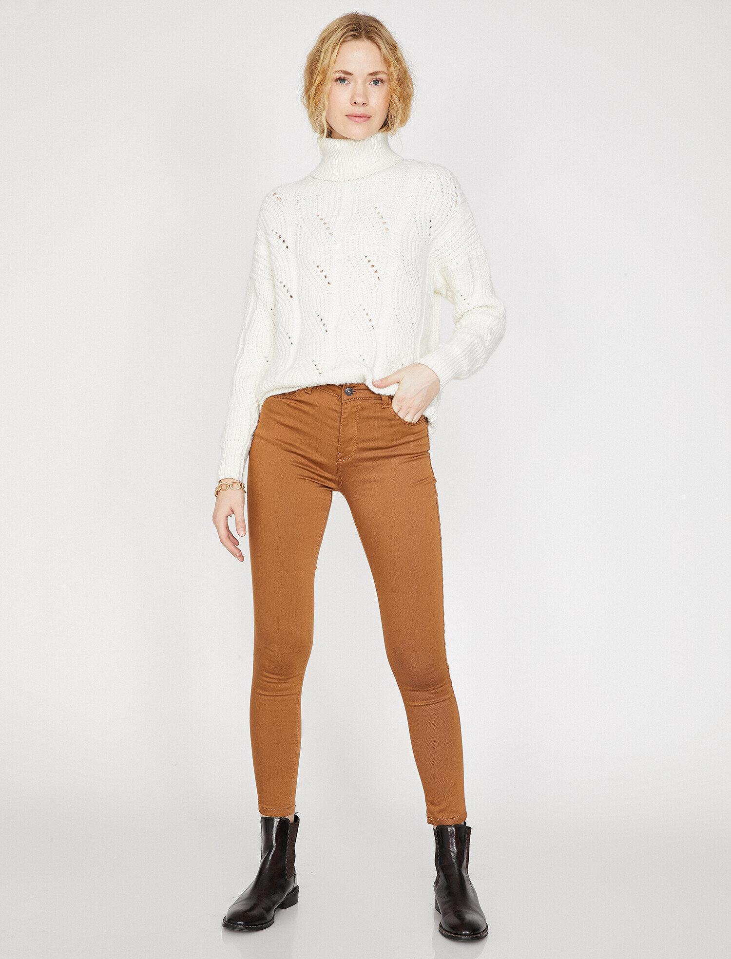 Koton Kadın Cep Detayli Pantolon Kahve Ürün Resmi