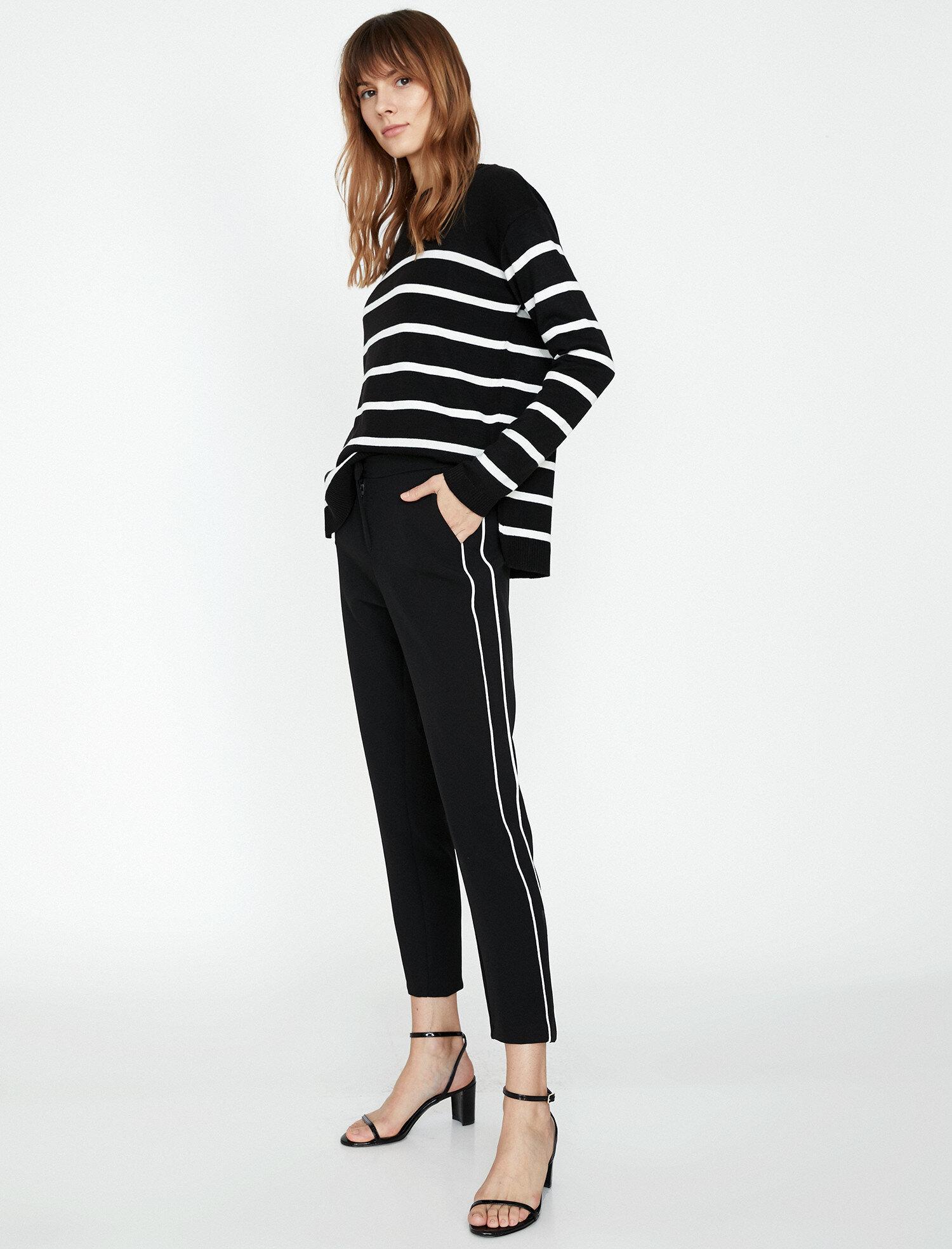 Koton Kadın Çizgili Pantolon Siyah Ürün Resmi