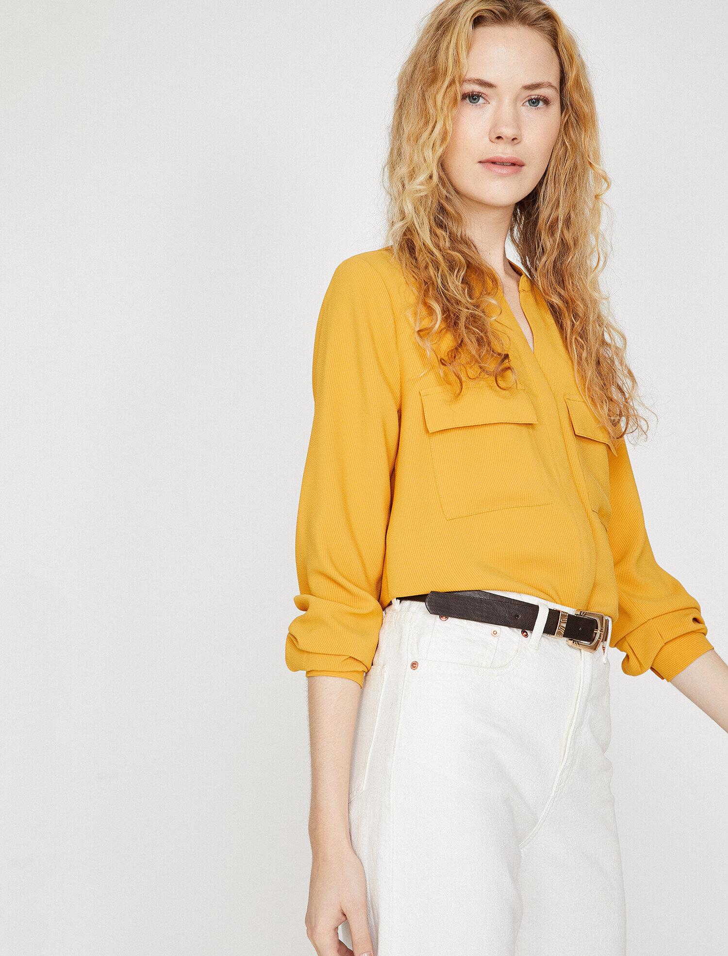 Koton Kadın Cep Detayli Gömlek Sarı Ürün Resmi