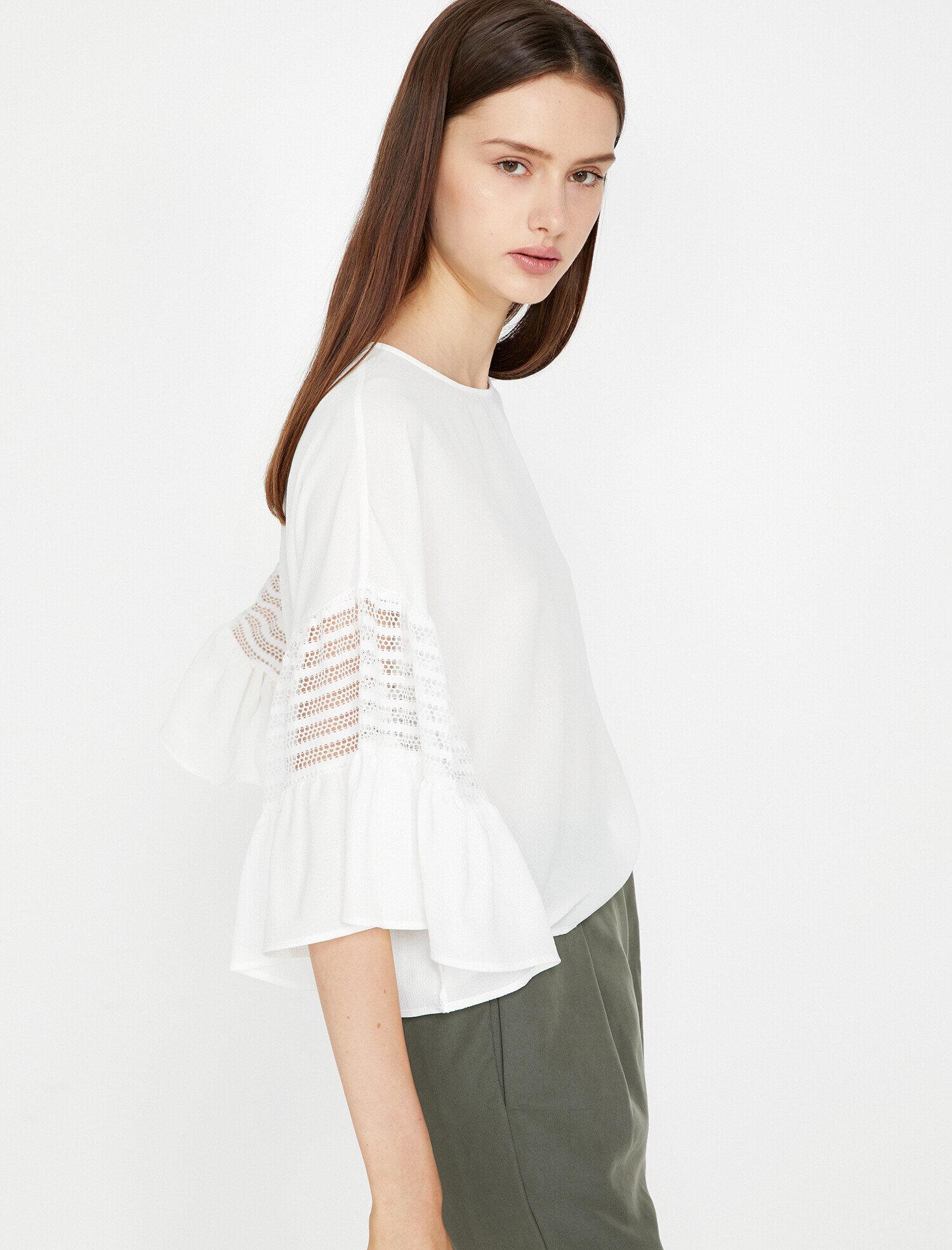 Koton Kadın Dantel Detayli Bluz Beyaz Ürün Resmi