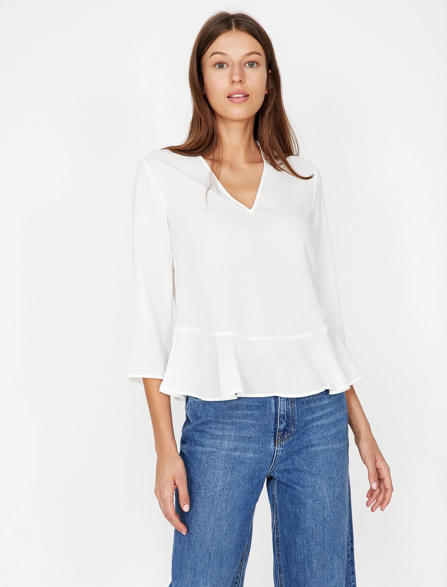 Koton Kadın Firfir Detayli Bluz Beyaz Ürün Resmi