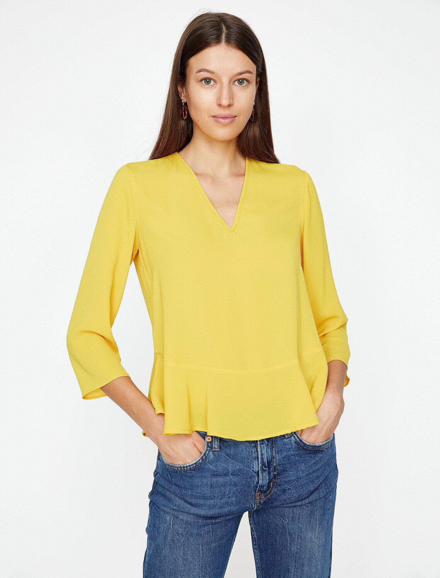 Koton Kadın Firfir Detayli Bluz Sarı Ürün Resmi