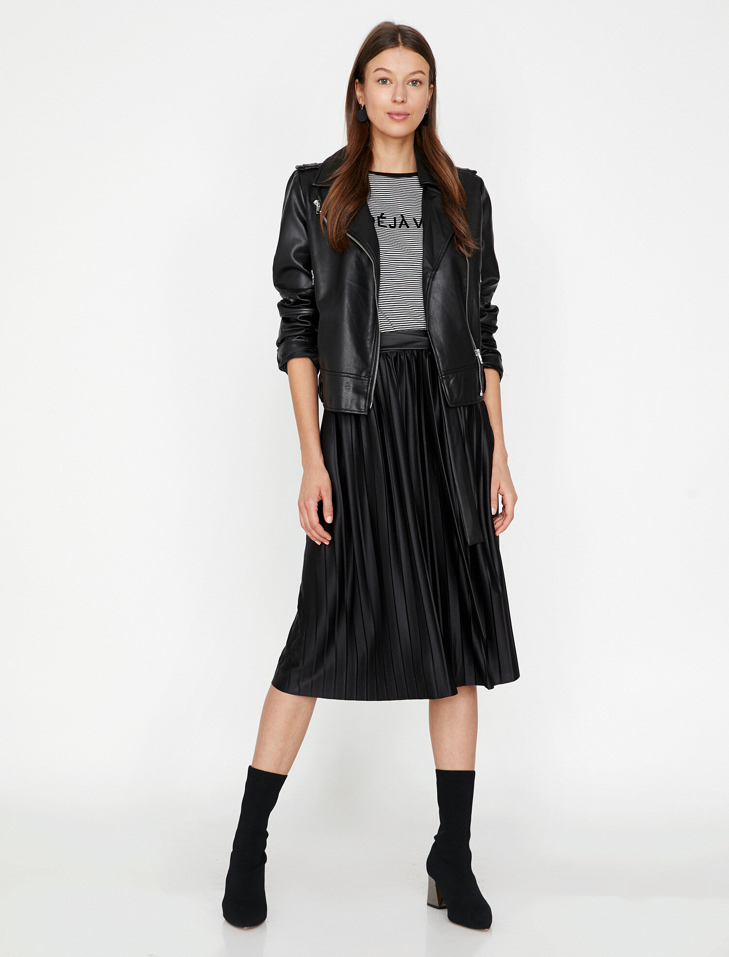 Koton Kadın Deri Görünümlü Etek Siyah Ürün Resmi