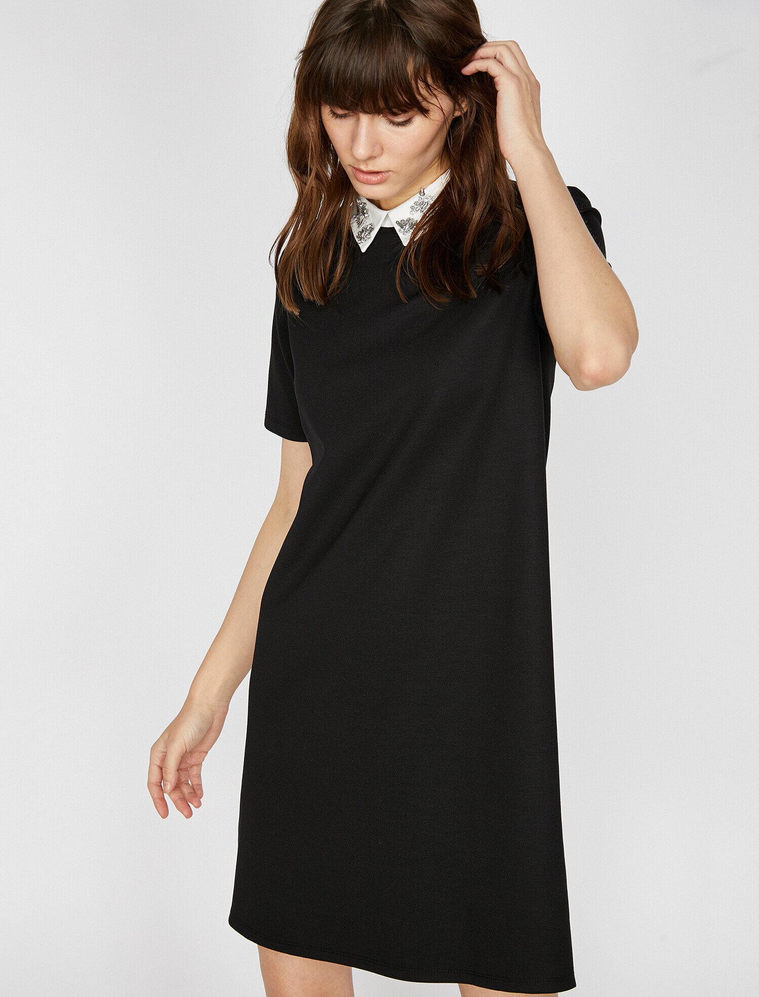 Koton Kadın Yaka Detayli Elbise Siyah Ürün Resmi
