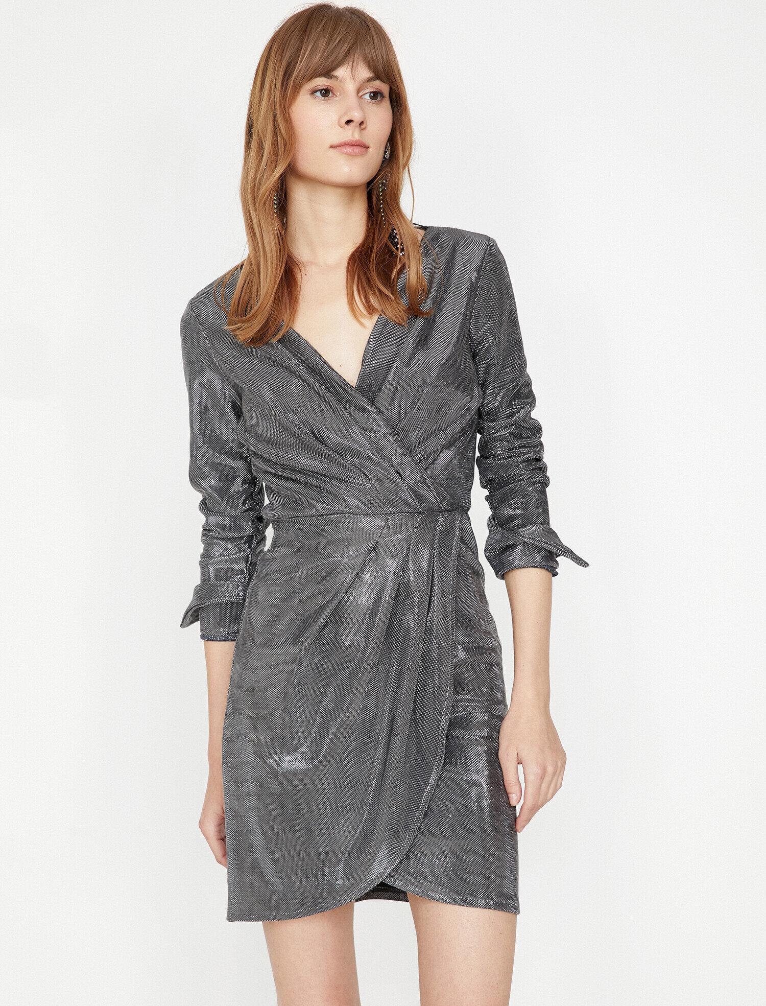 Koton Kadın Büzgülü Elbise Gri Ürün Resmi