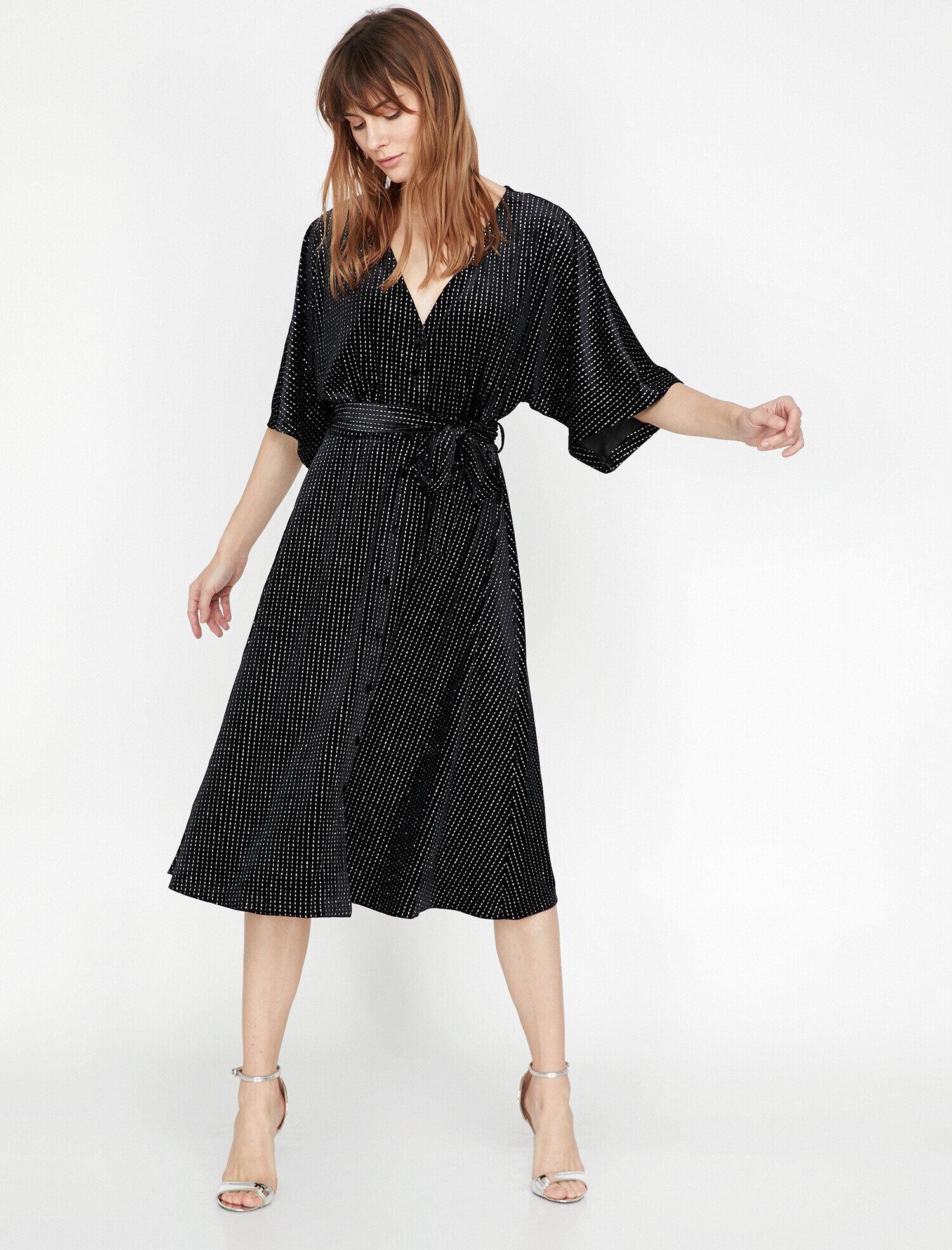 Koton Kadın Dügme Detayli Elbise Siyah Ürün Resmi