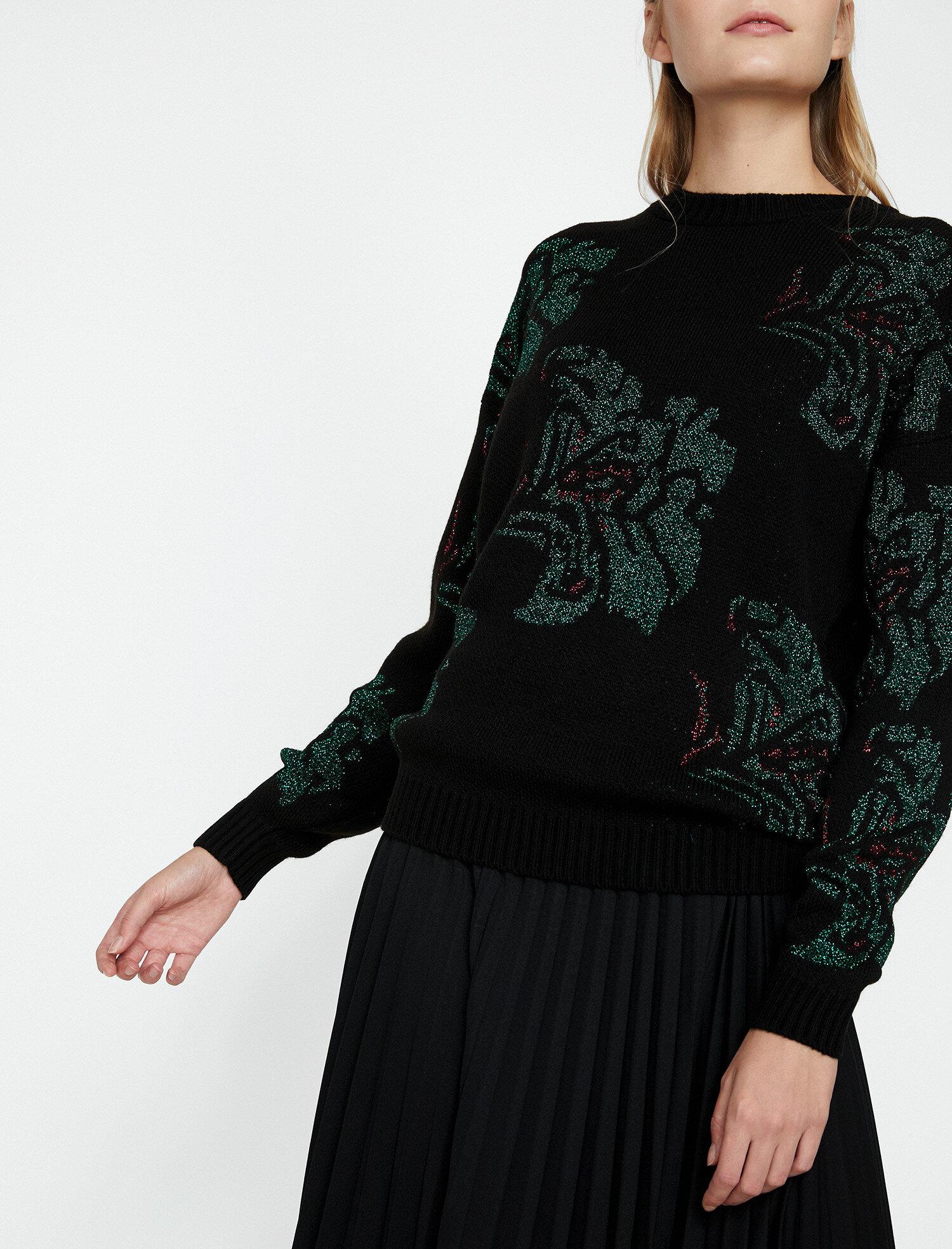 Koton Kadın Desenli kazak Siyah Ürün Resmi