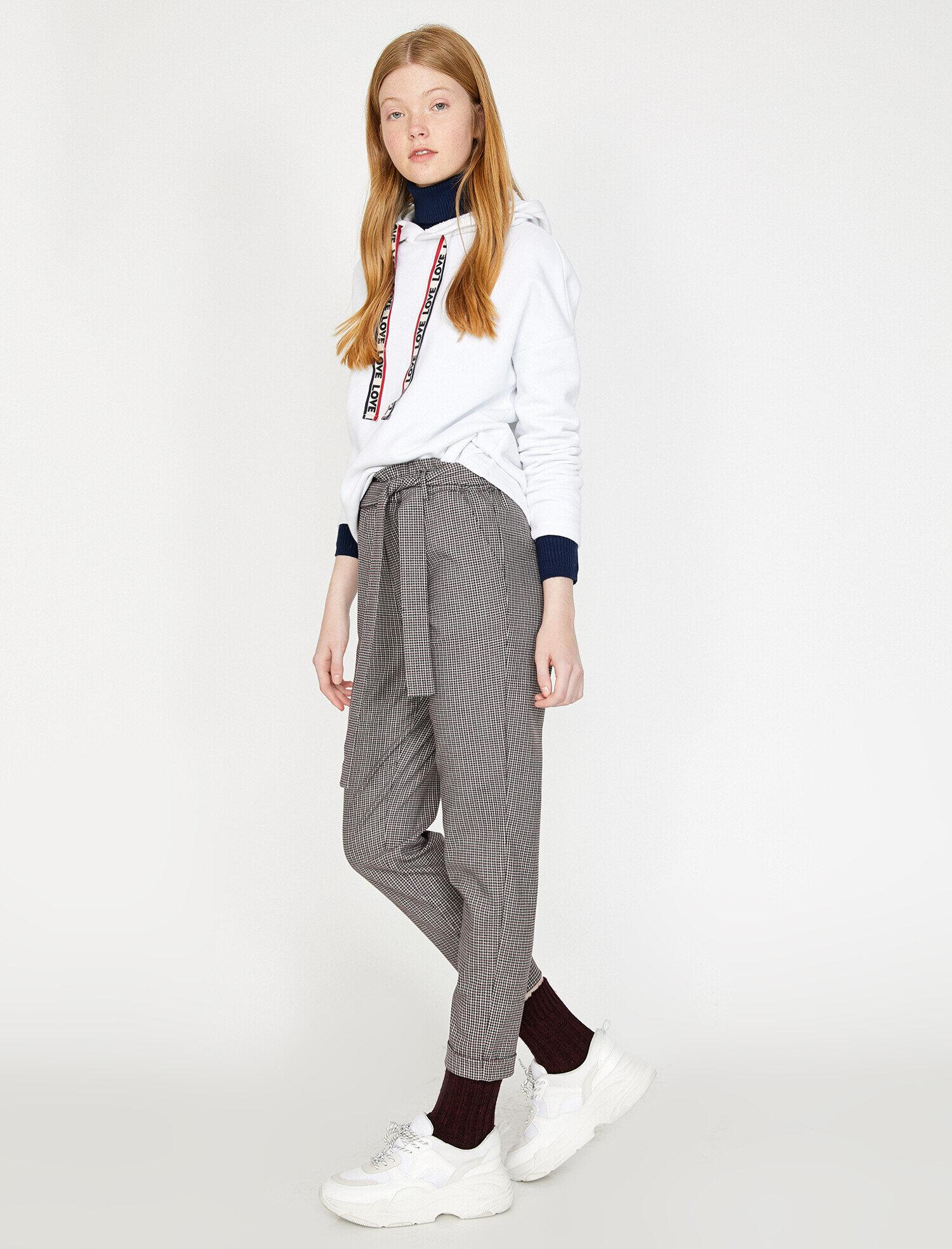 Koton Kadın Desenli Pantolon Bordo Ürün Resmi
