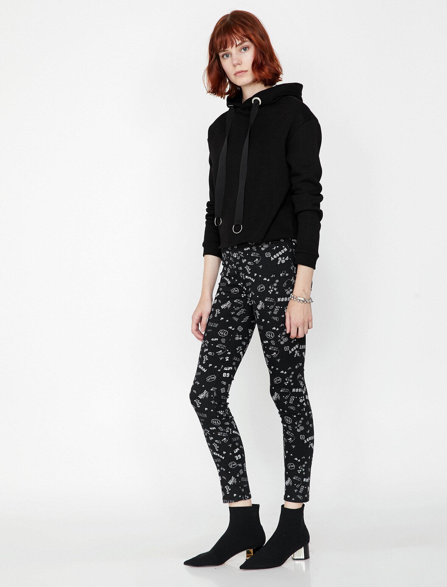 Koton Kadın Yazili Baskili Pantolon Siyah Ürün Resmi