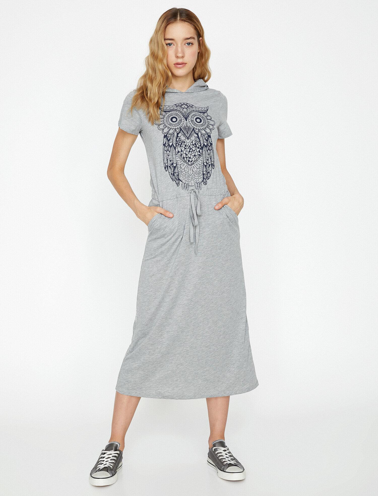 Koton Kadın Baskili Elbise Gri Ürün Resmi