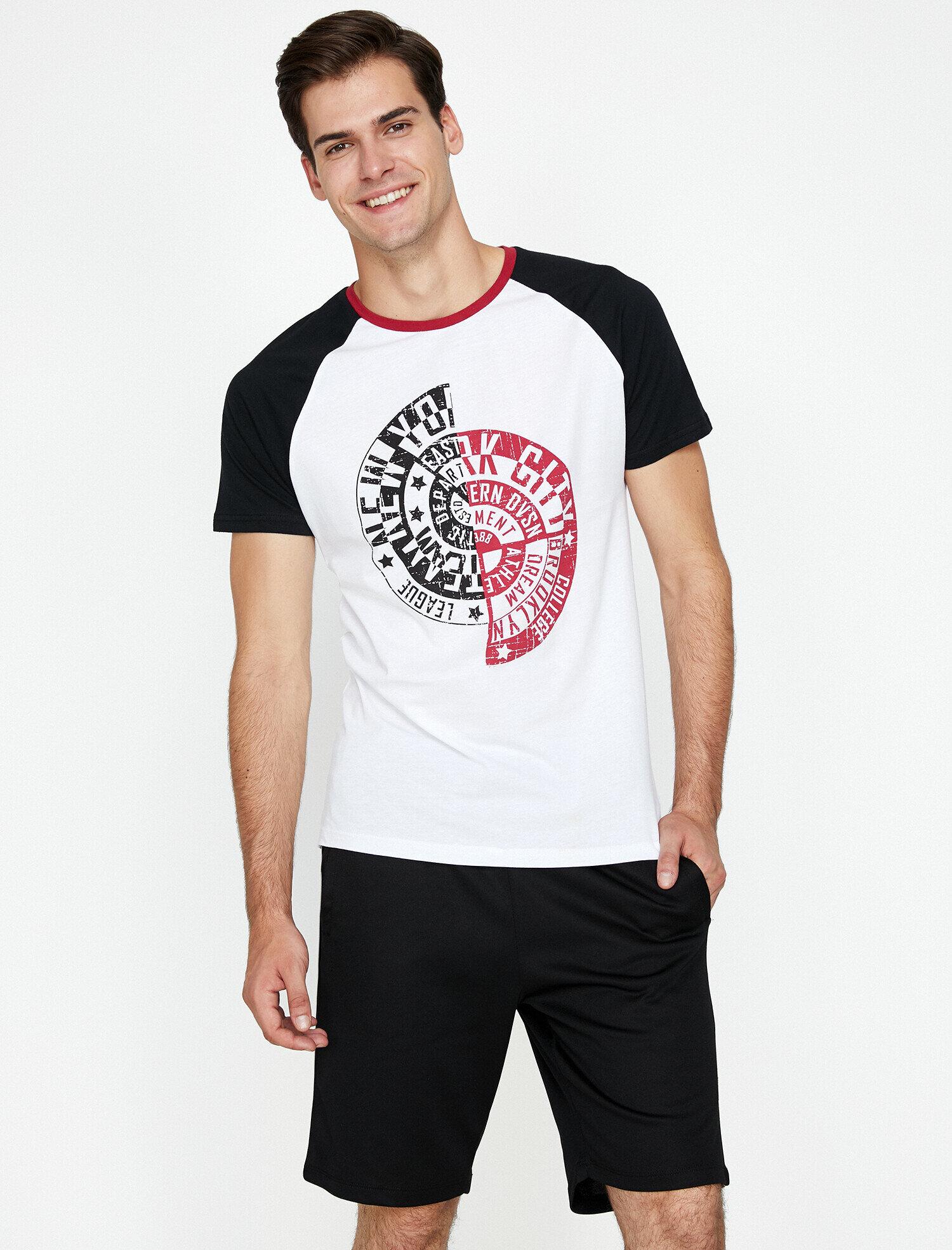 Koton Erkek Baskili T-Shirt Beyaz Ürün Resmi