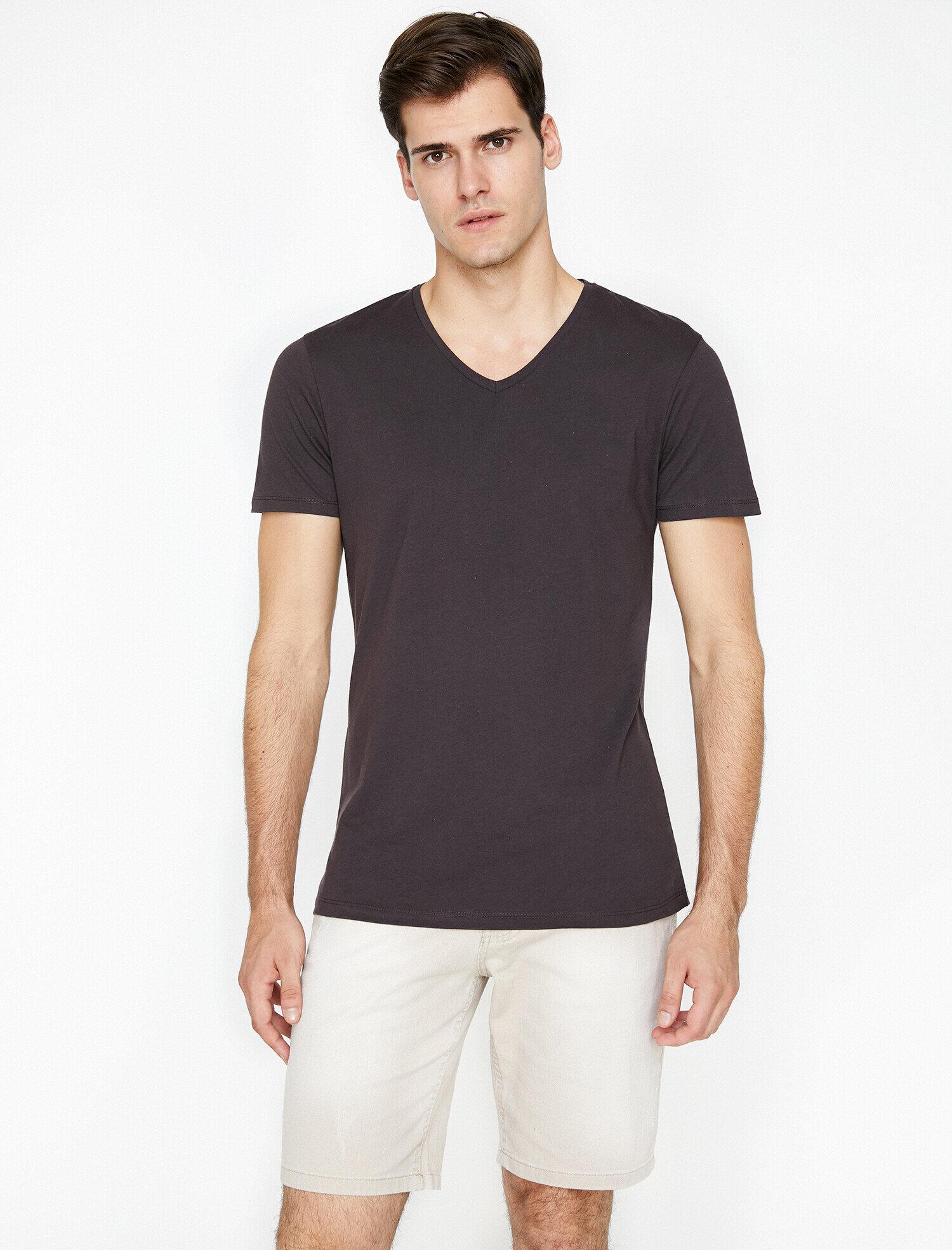 Koton Erkek V Yaka T-Shirt Mor Ürün Resmi