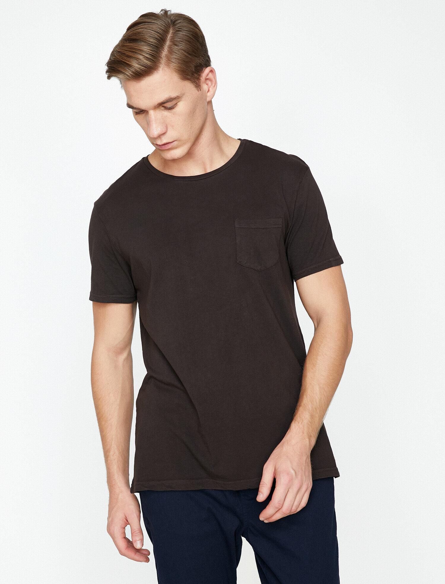 Koton Erkek Cep Detayli T-Shirt Mor Ürün Resmi
