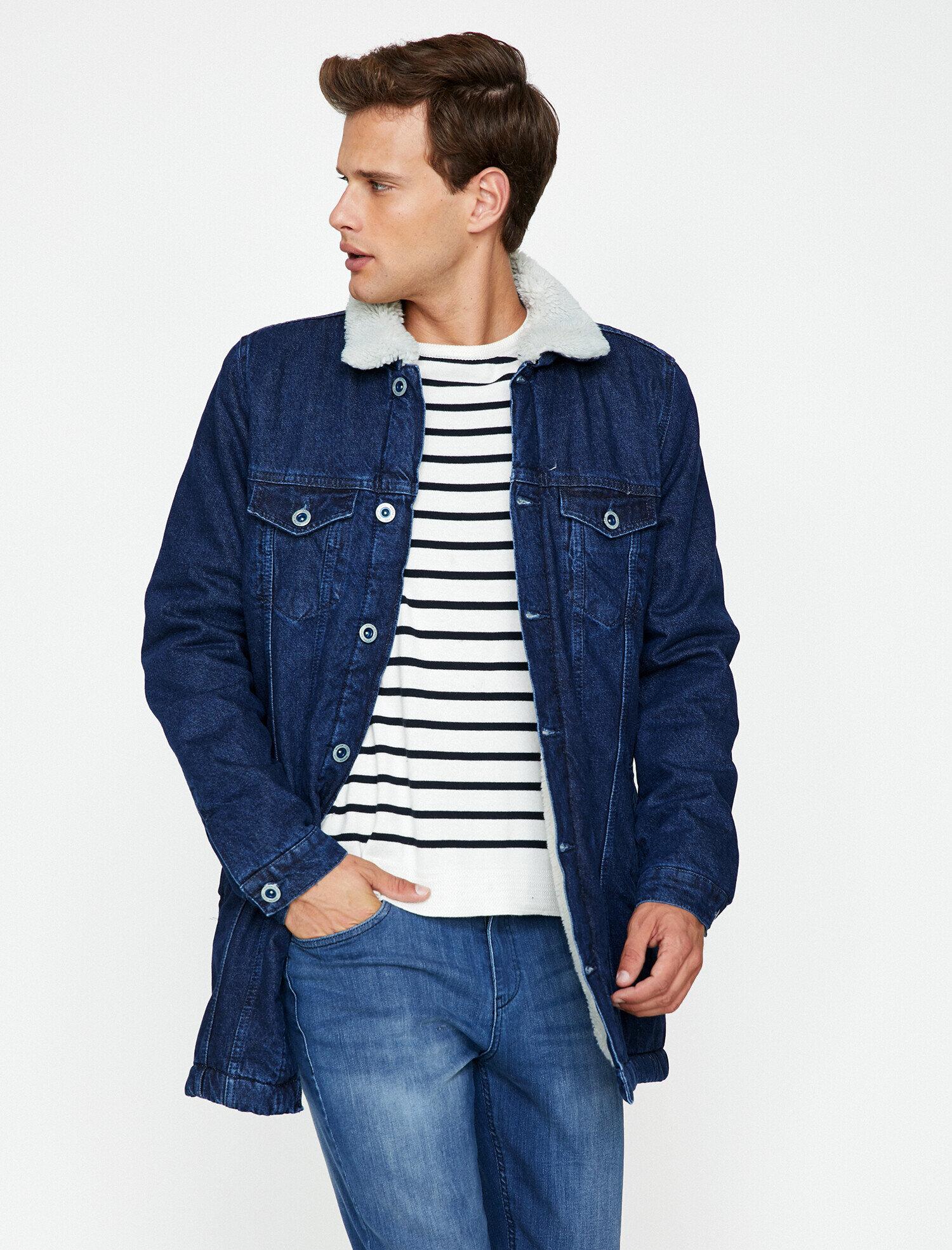 Koton Erkek Cep Detayli Jean Ceket Mavi Ürün Resmi