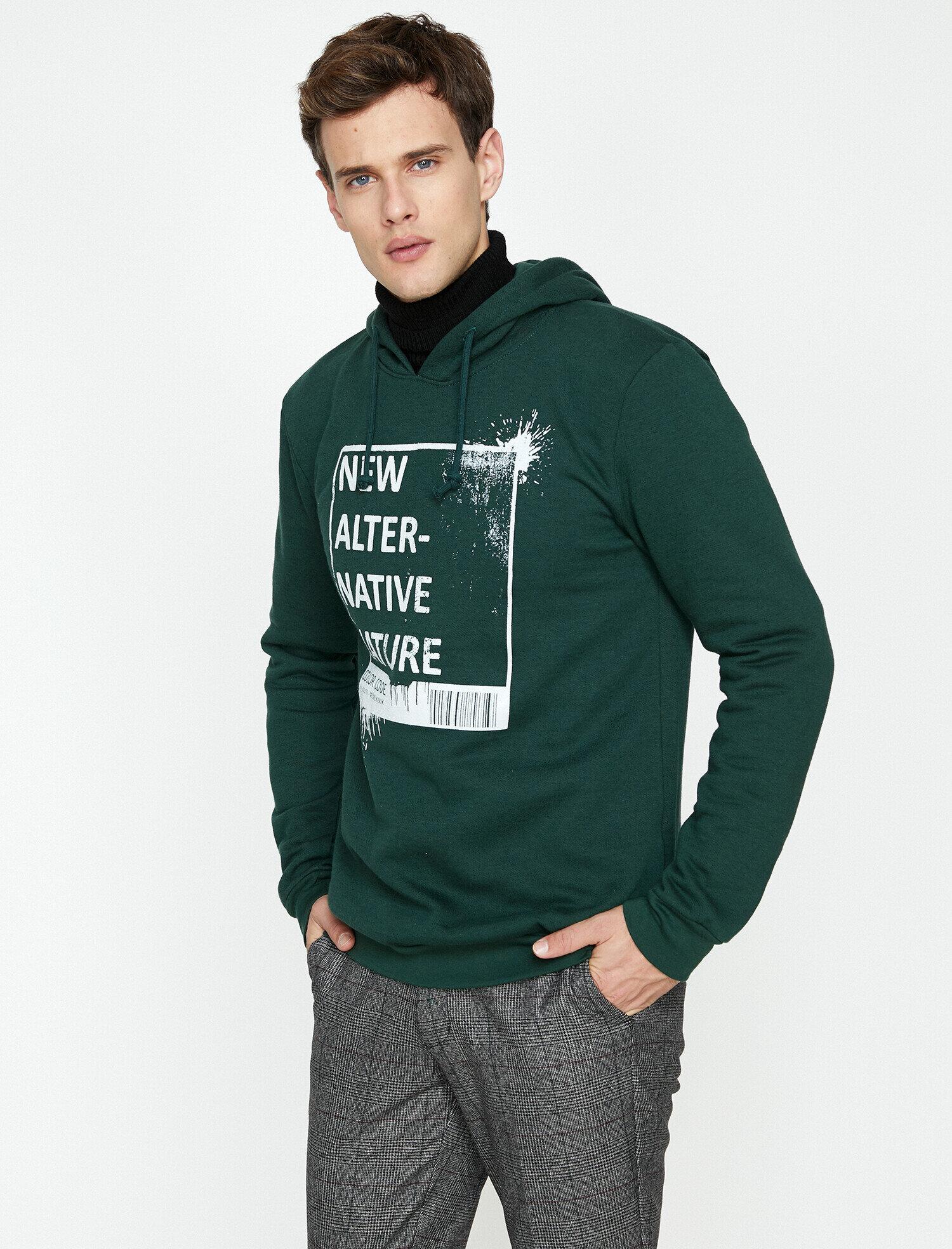 Koton Erkek Yazili Baskili Sweatshirt Yeşil Ürün Resmi
