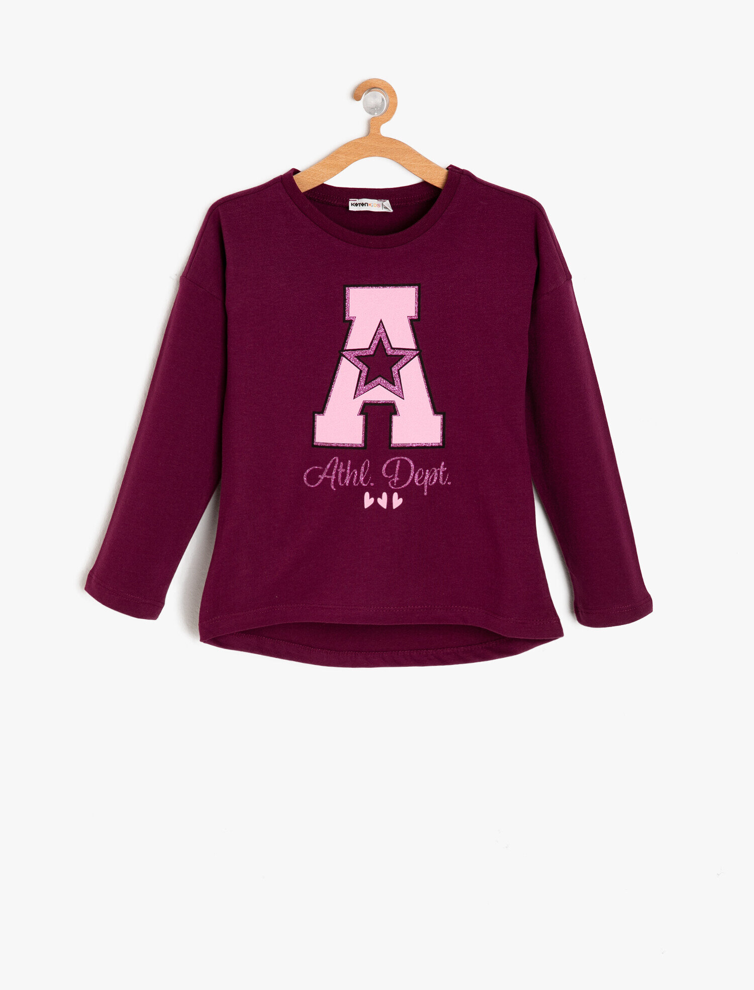 Koton Kız Çocuk Yazili Baskili T-Shirt Mor Ürün Resmi