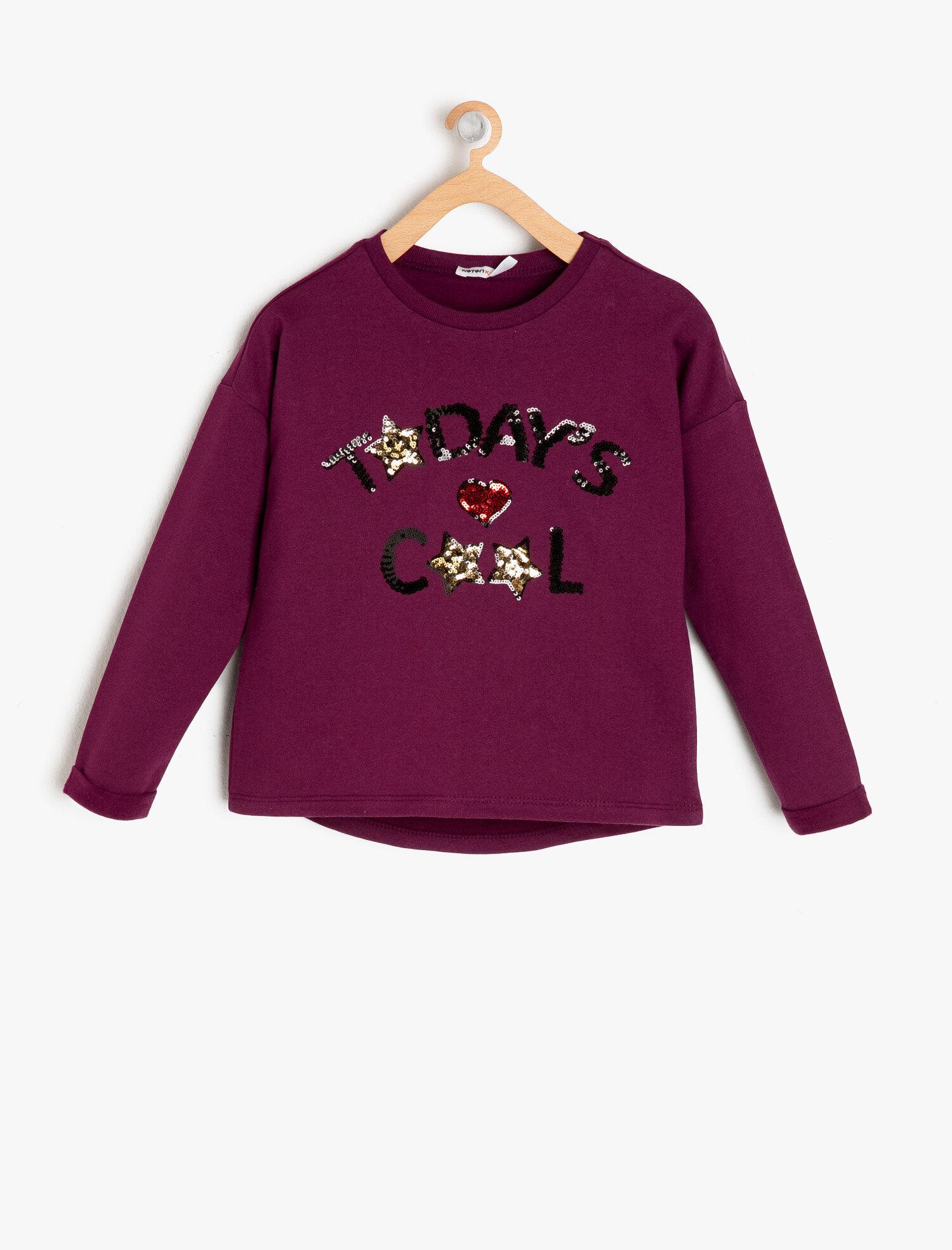Koton Kız Çocuk Pul Detayli Sweatshirt Mor Ürün Resmi
