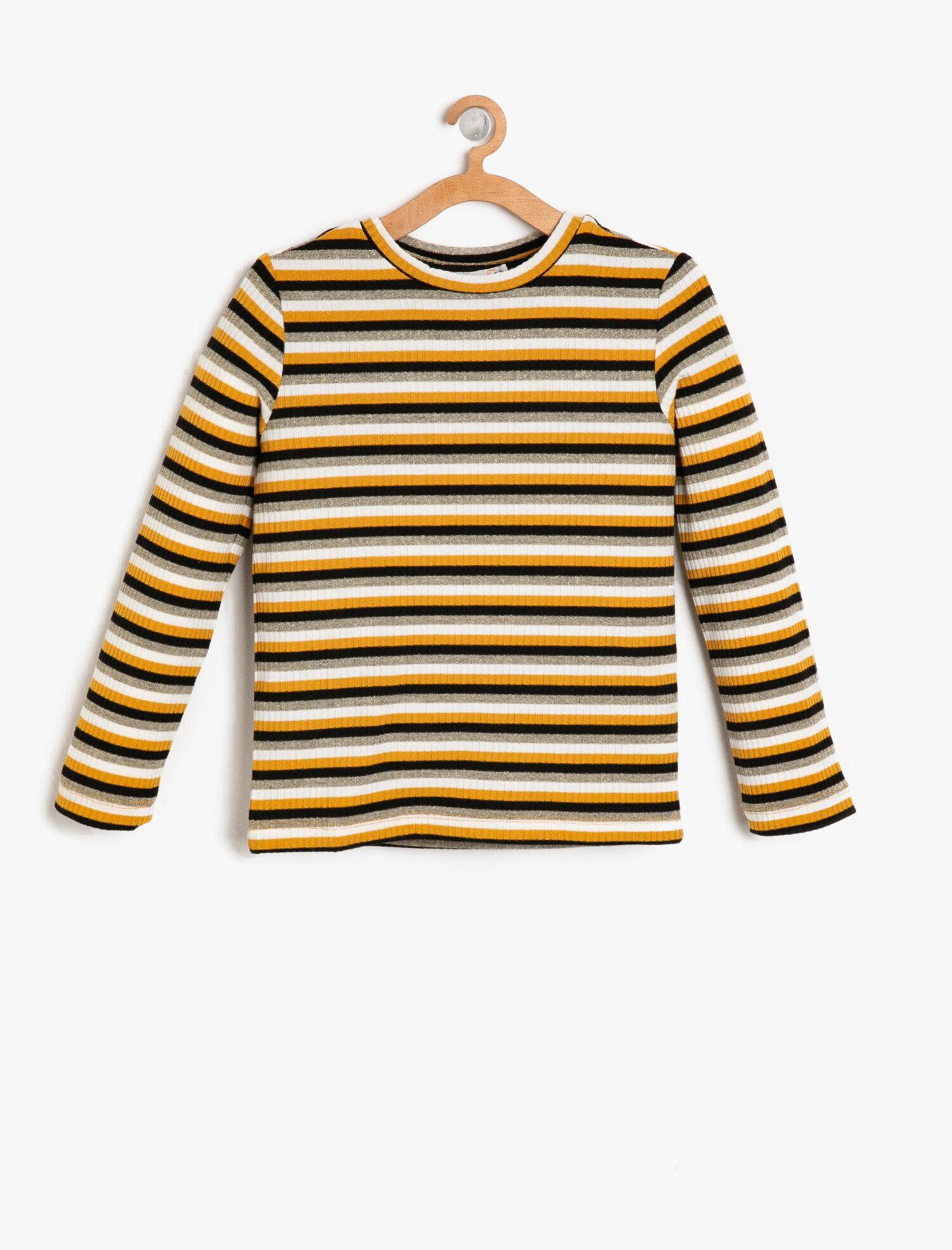 Koton Kız Çocuk Çizgili T-Shirt Sarı Ürün Resmi