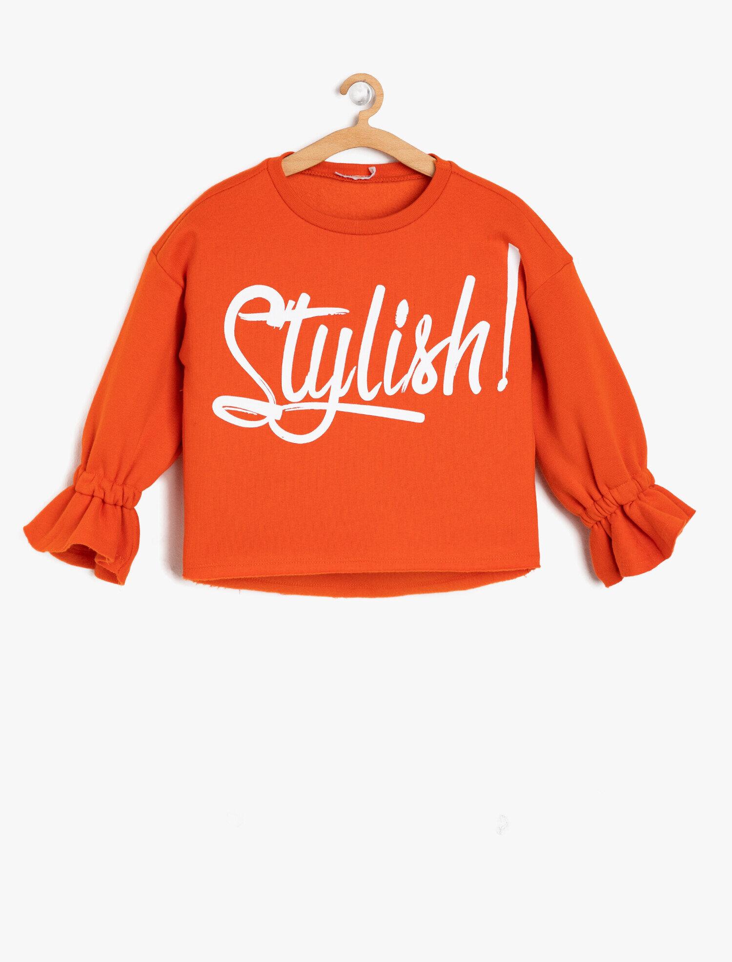 Koton Kız Çocuk Yazili Baskili Sweatshirt Turuncu Ürün Resmi