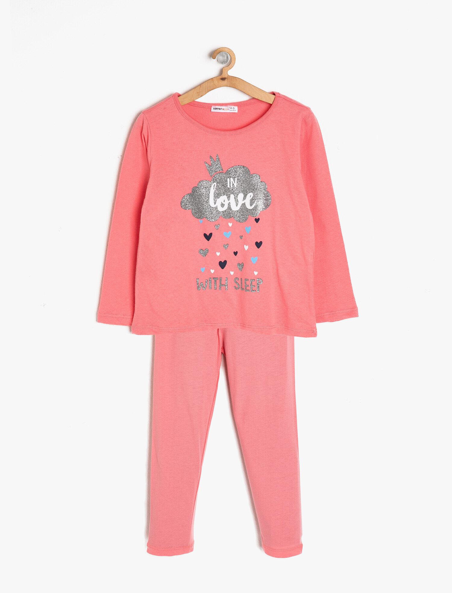 Koton Kız Çocuk Baskili Pijama Seti Kırmızı Ürün Resmi