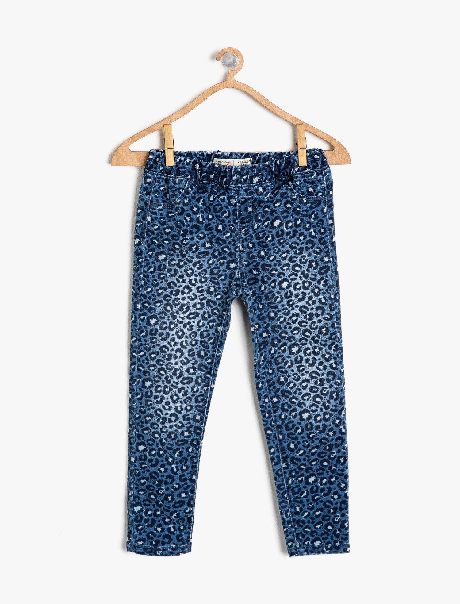 Koton Kız Çocuk Desenli Jean Pantolon Mavi Ürün Resmi