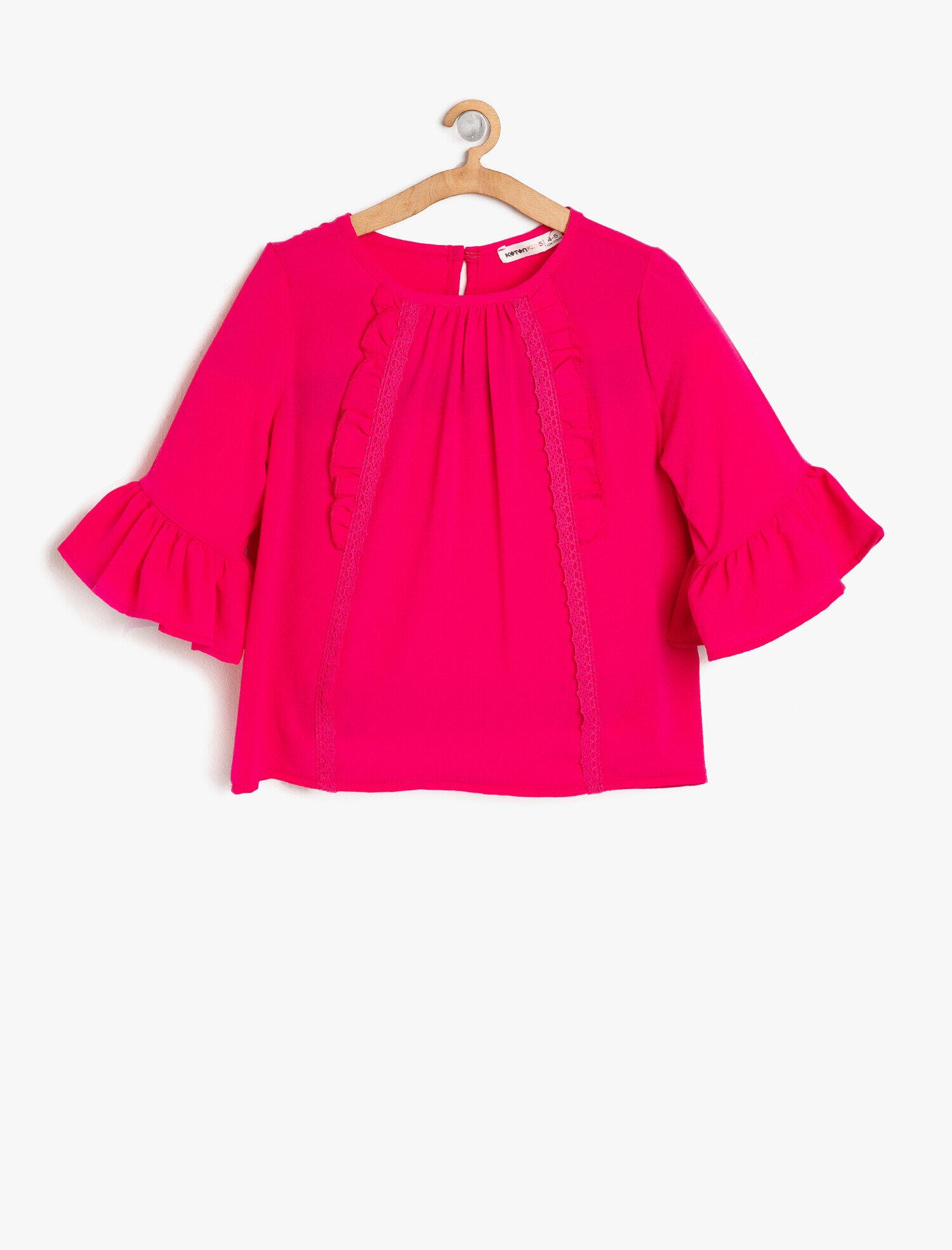 Koton Kız Çocuk Volanli Bluz Pembe Ürün Resmi