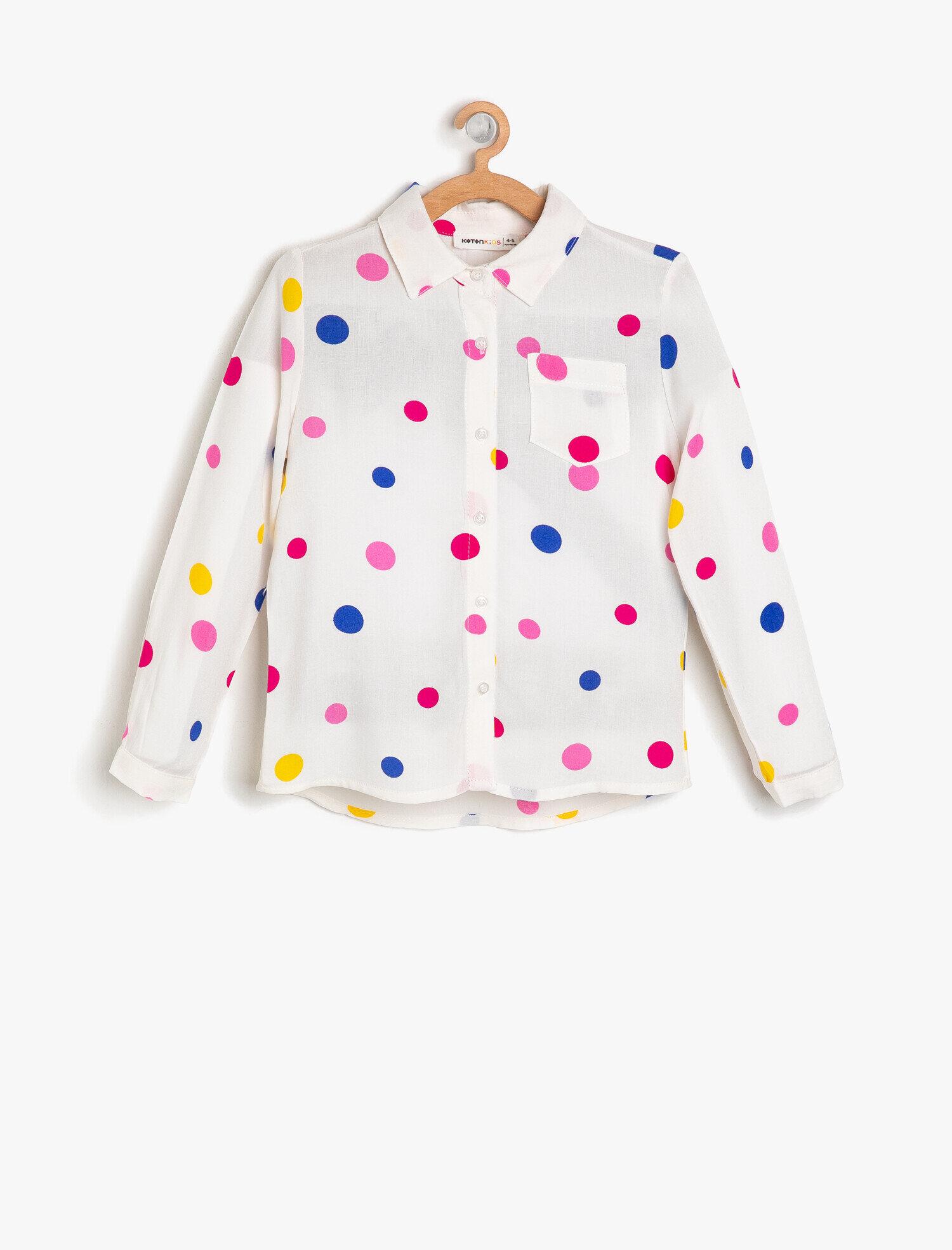 Koton Kız Çocuk Puantiyeli Gömlek Beyaz Ürün Resmi