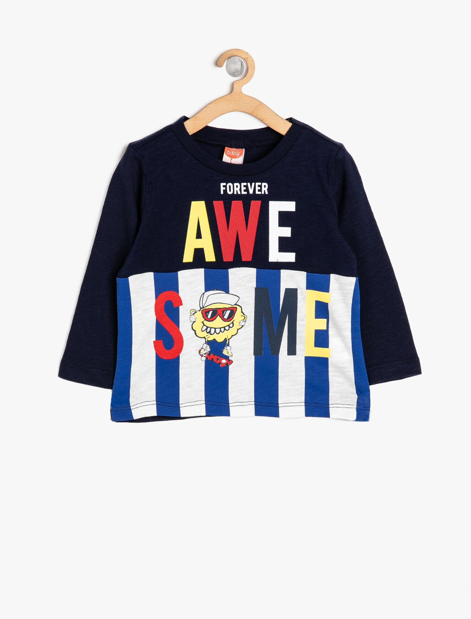 Koton Erkek Çocuk Yazili Baskili T-Shirt Lacivert Ürün Resmi
