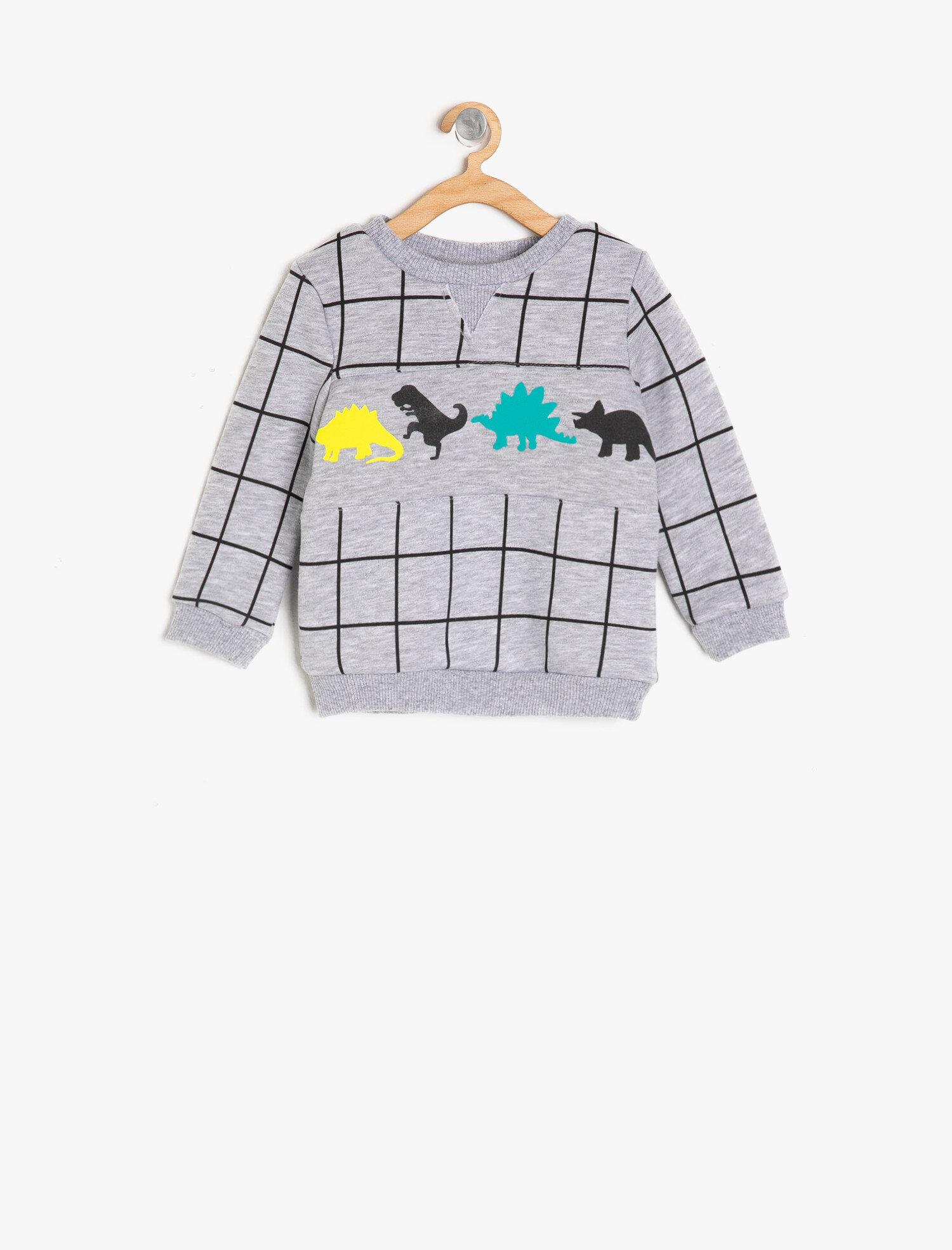 Koton Erkek Çocuk Kareli Sweatshirt Gri Ürün Resmi