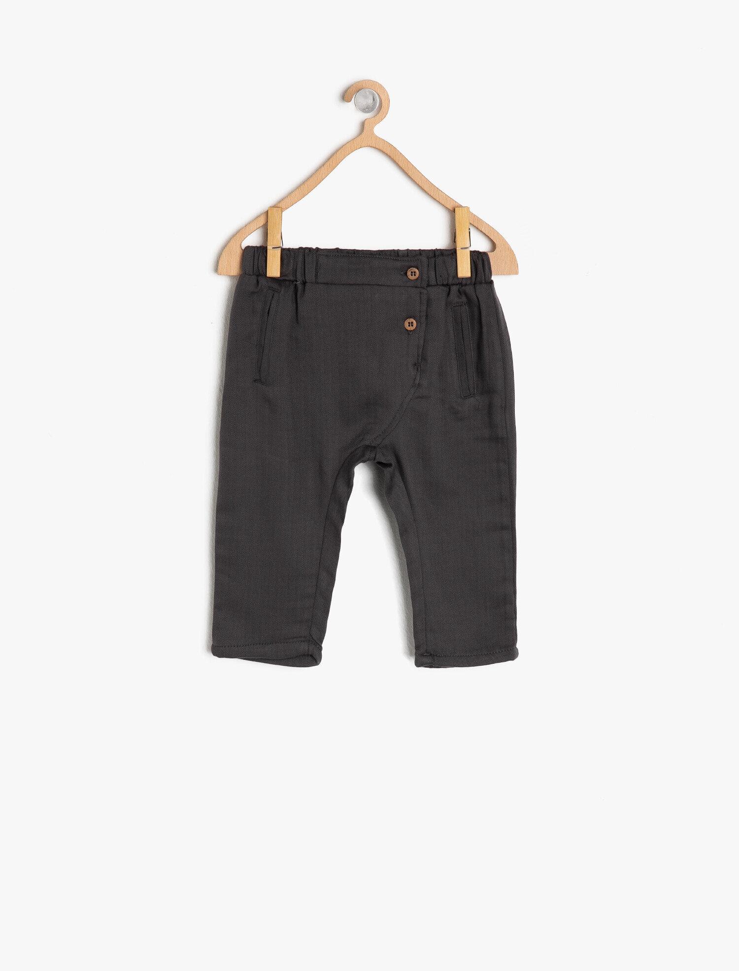 Koton Erkek Çocuk Dügme Detayli Pantolon Gri Ürün Resmi