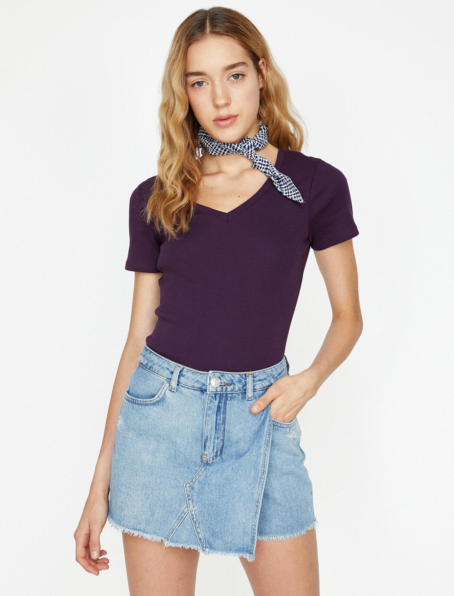 Koton Kadın V Yaka T-Shirt Mor Ürün Resmi