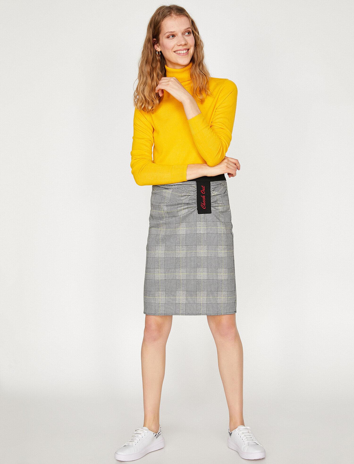 Koton Kadın Kareli Etek Sarı Ürün Resmi