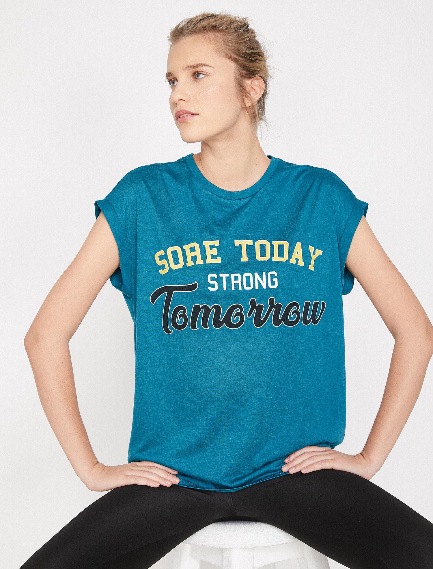 Koton Kadın Yazili Baskili T-Shirt Yeşil Ürün Resmi