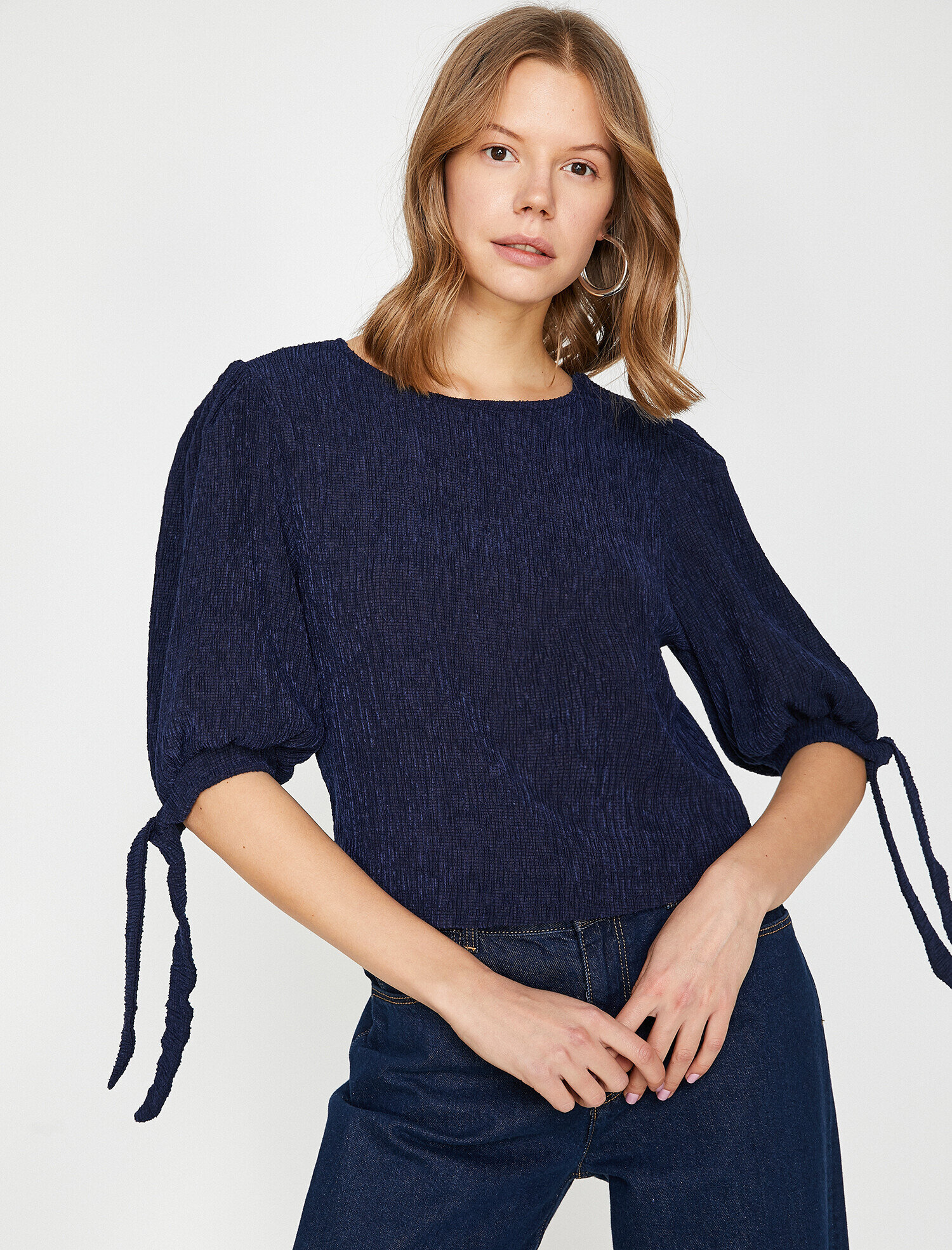 Koton Kadın Kol Detayli T-Shirt Lacivert Ürün Resmi
