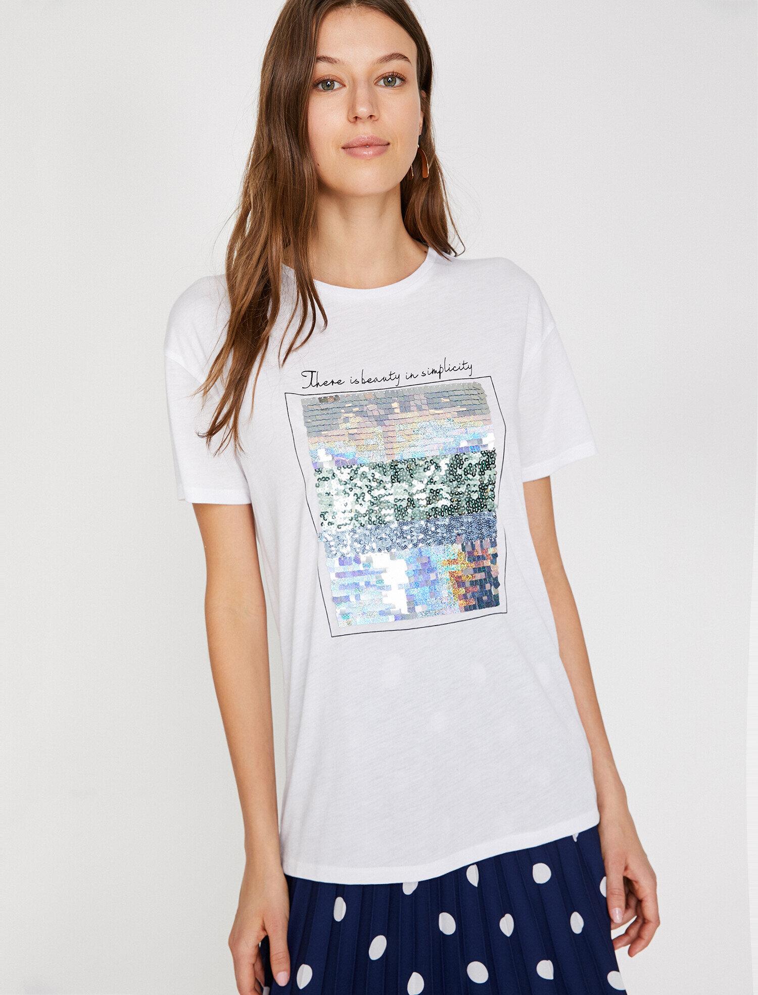 Koton Kadın Pul Detayli T-Shirt Beyaz Ürün Resmi