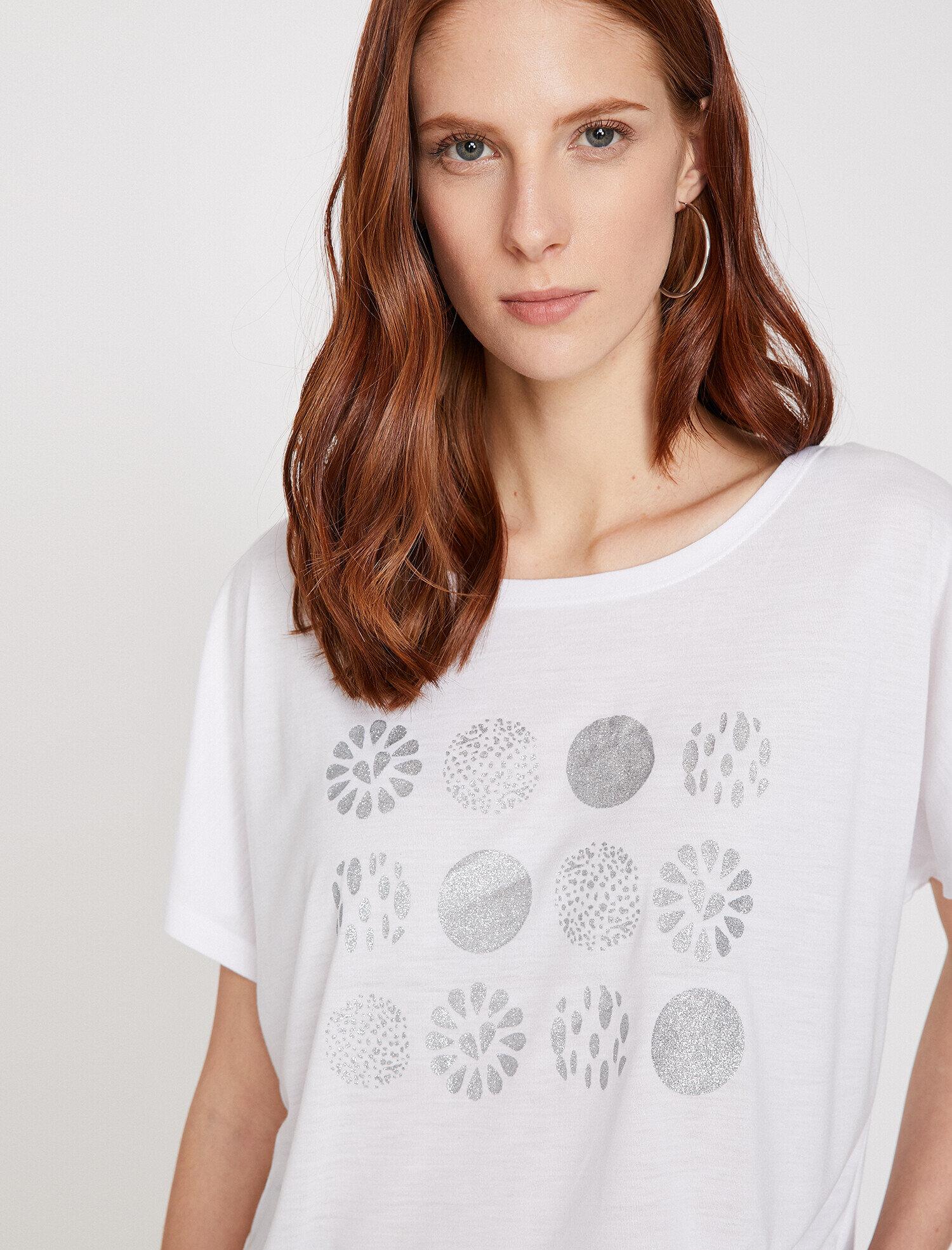 Koton Kadın Desenli T-Shirt Ekru Ürün Resmi