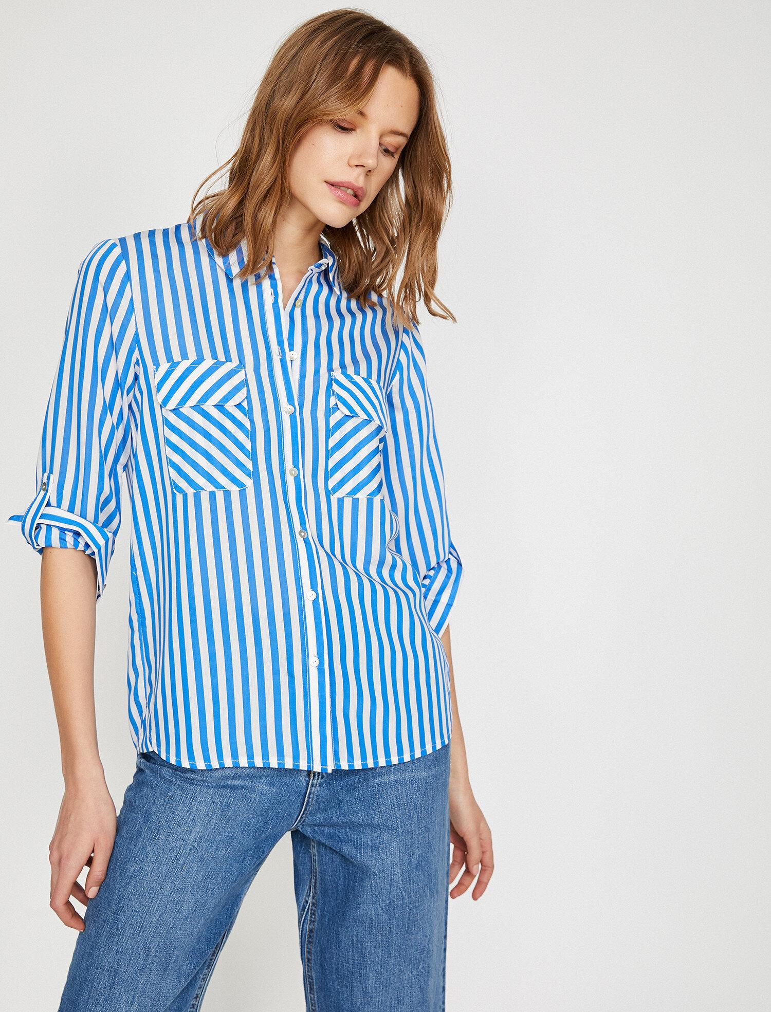 Koton Kadın Çizgili Gömlek Mavi Ürün Resmi