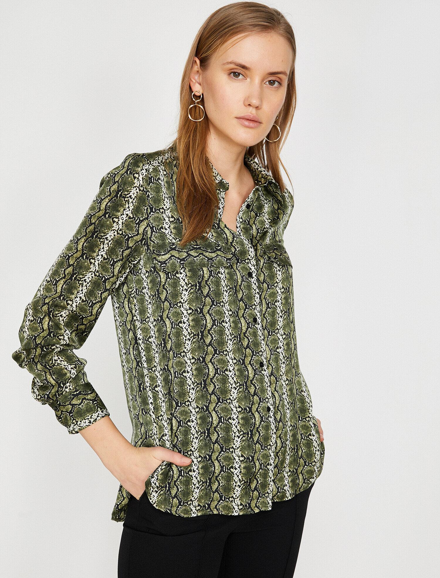 Koton Kadın Yilan Derisi Desenli Gömlek