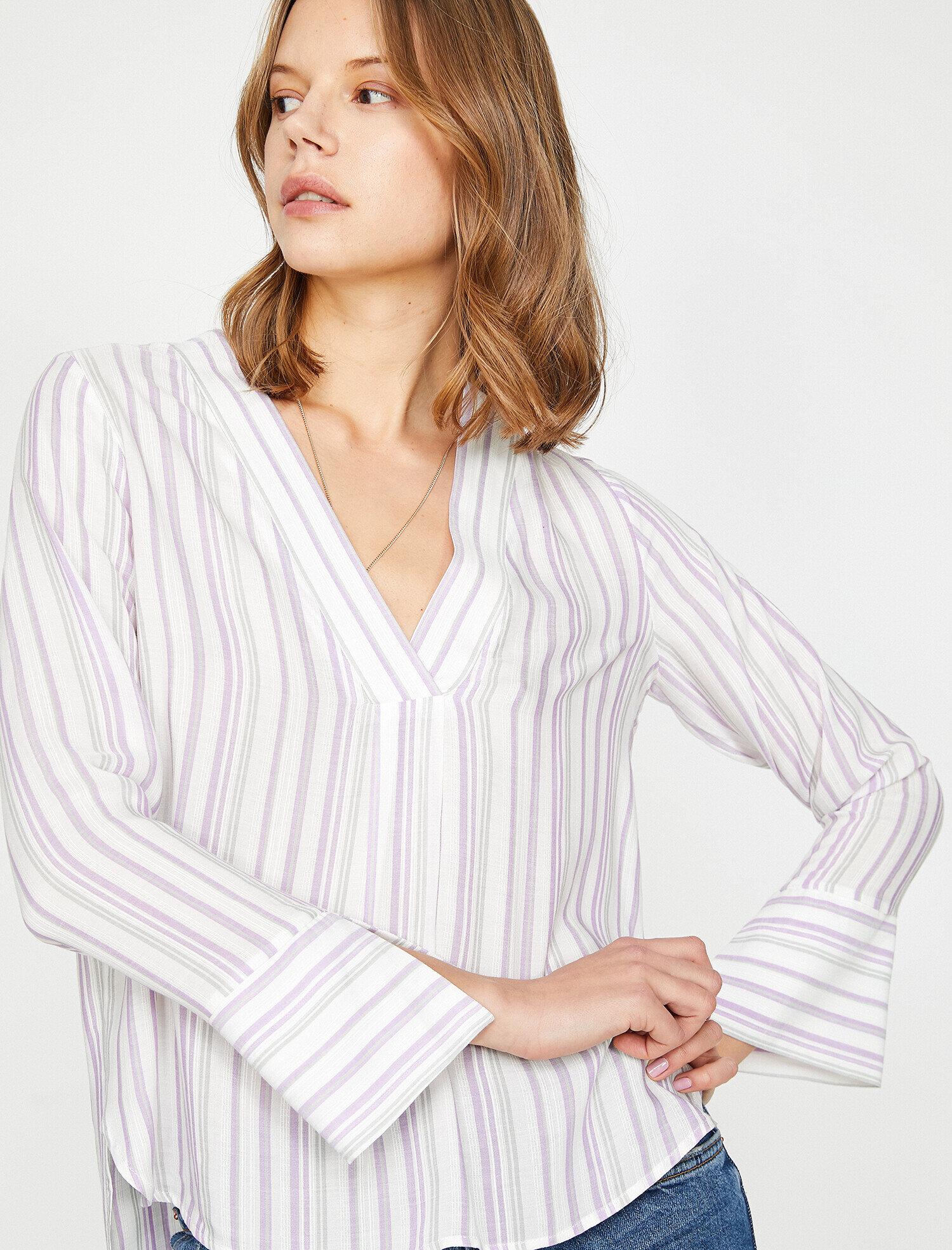 Koton Kadın Çizgili Bluz Mor Ürün Resmi