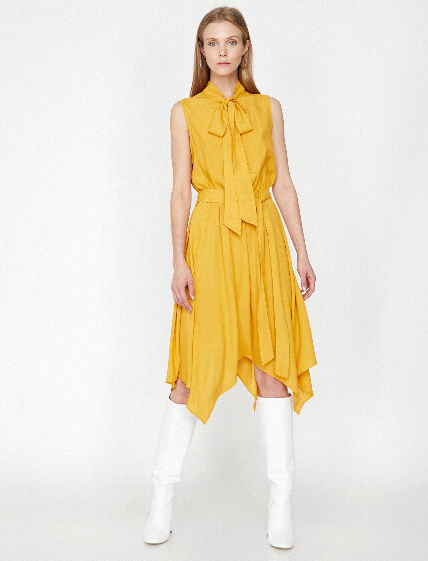 Koton Kadın Yaka Detayli Elbise Sarı Ürün Resmi