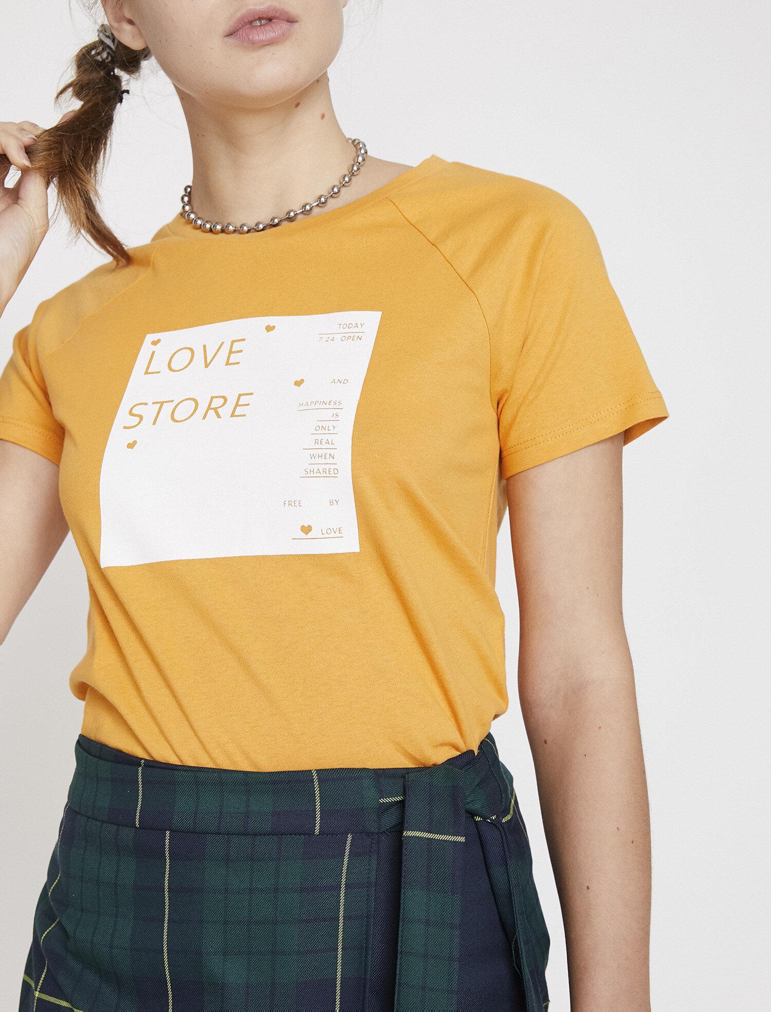 Koton Kadın Baskili T-Shirt Sarı Ürün Resmi
